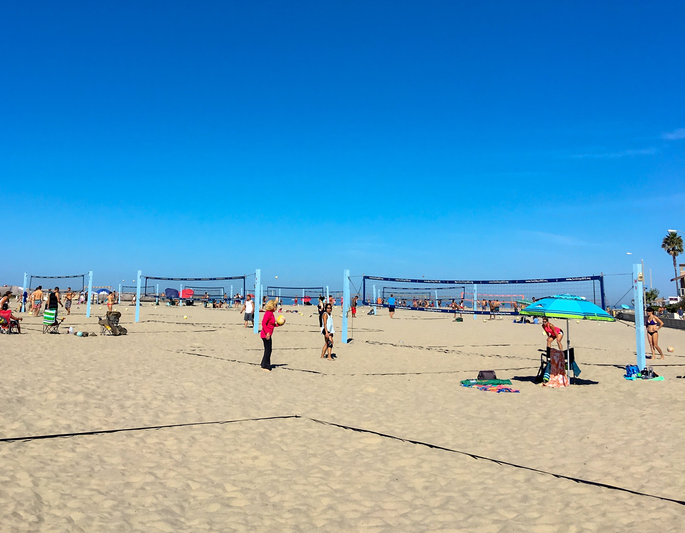 Volleyball courts at South Mission Beach in San Diego