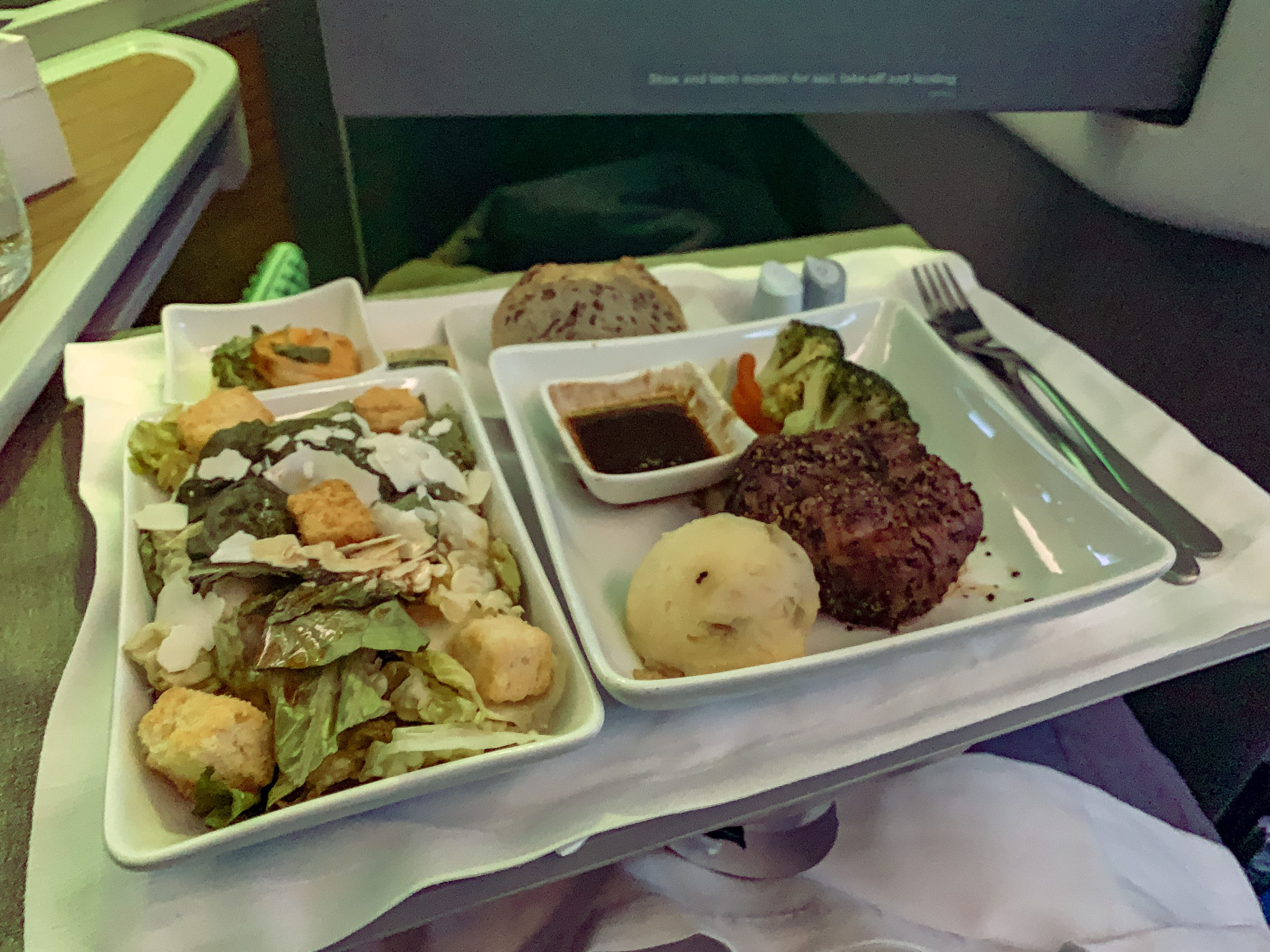 Dinner on American Airlines in business class from LAX-HKG