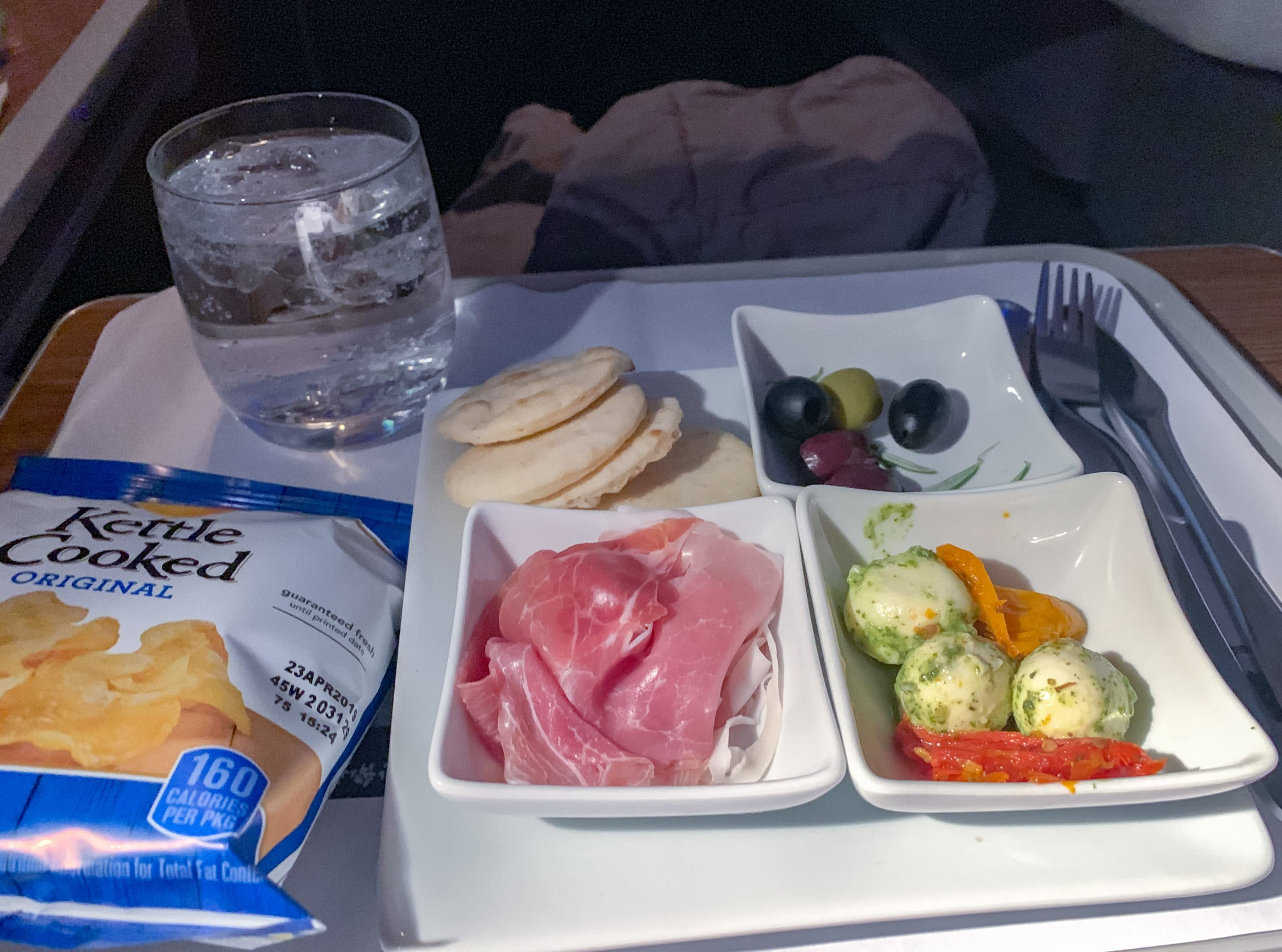 Antipasto plate on American Airlines business class from Los Angeles to Hong Kong
