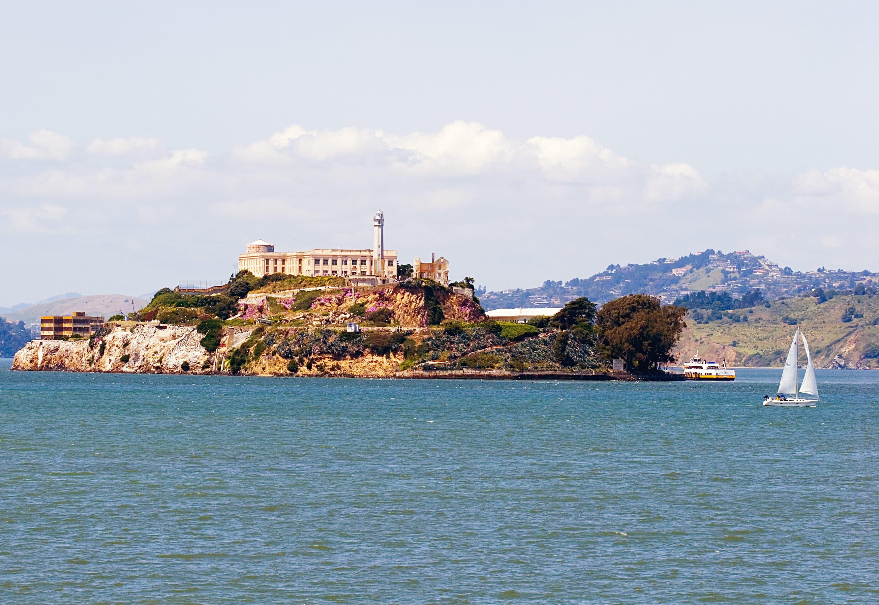 View of Alcatraz Island over the bay