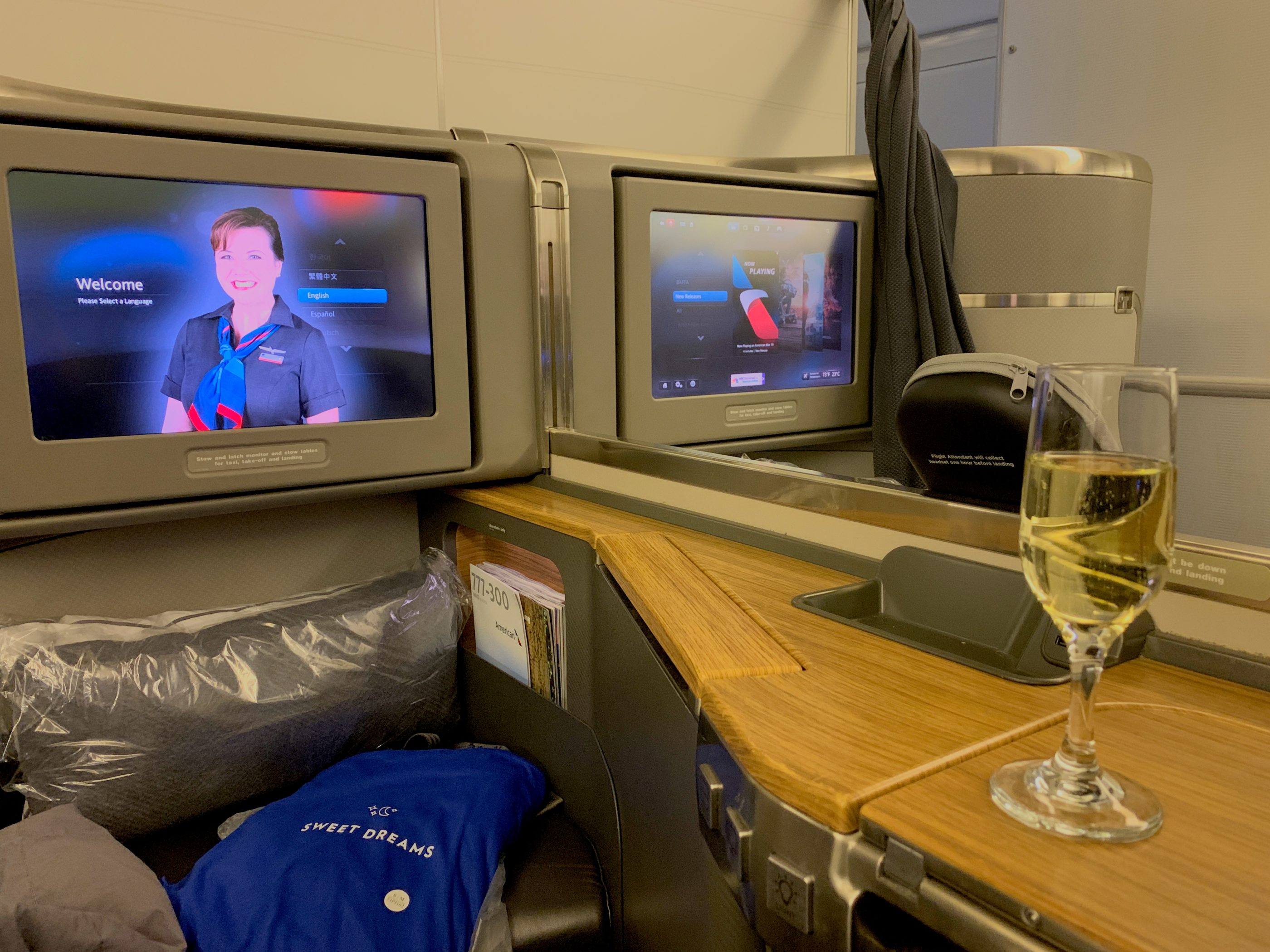 Welcome champagne on American Airlines 777-300