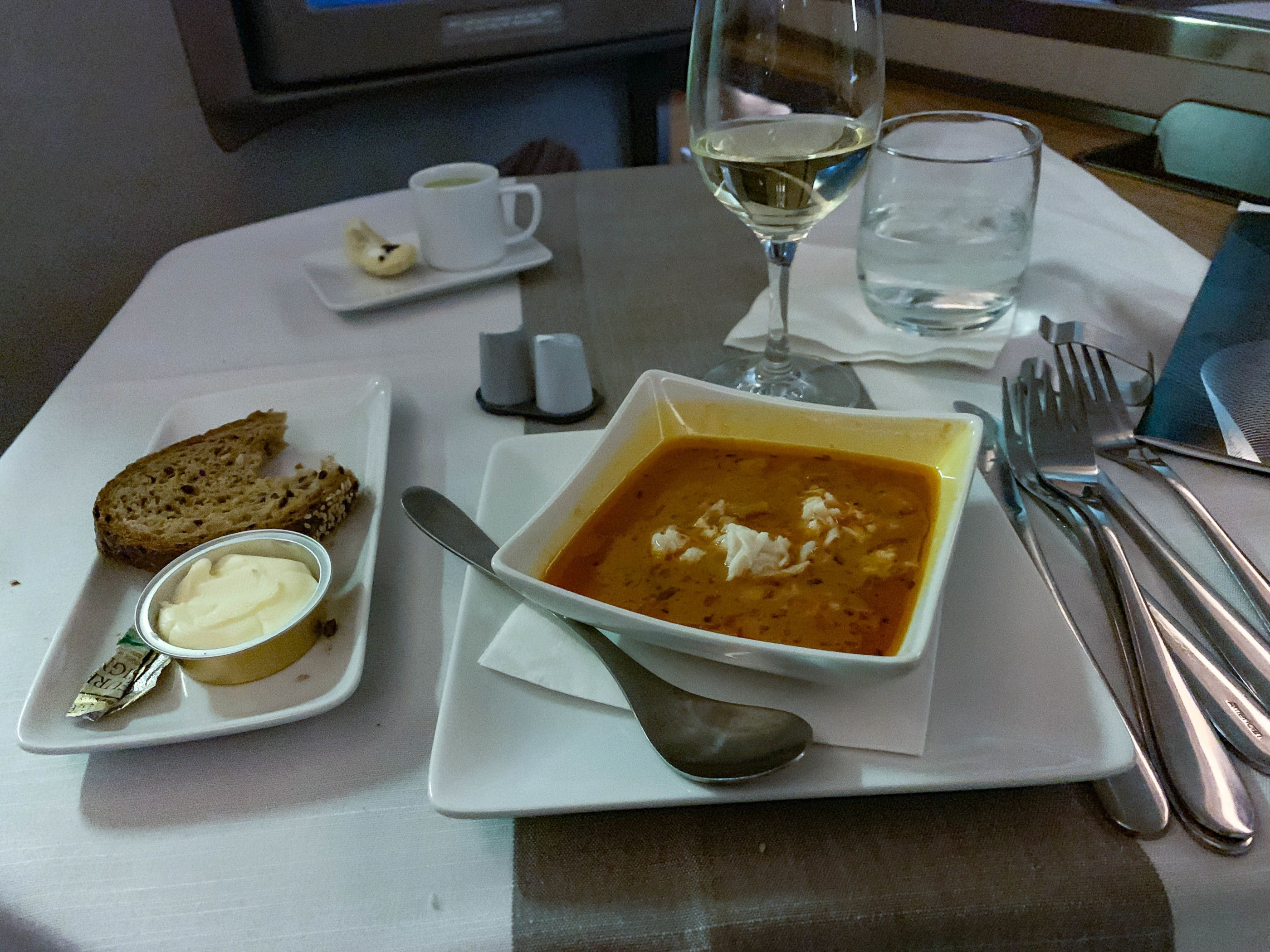 Lobster saffron bisque on American Airlines first class 777-300 from HKG-LAX