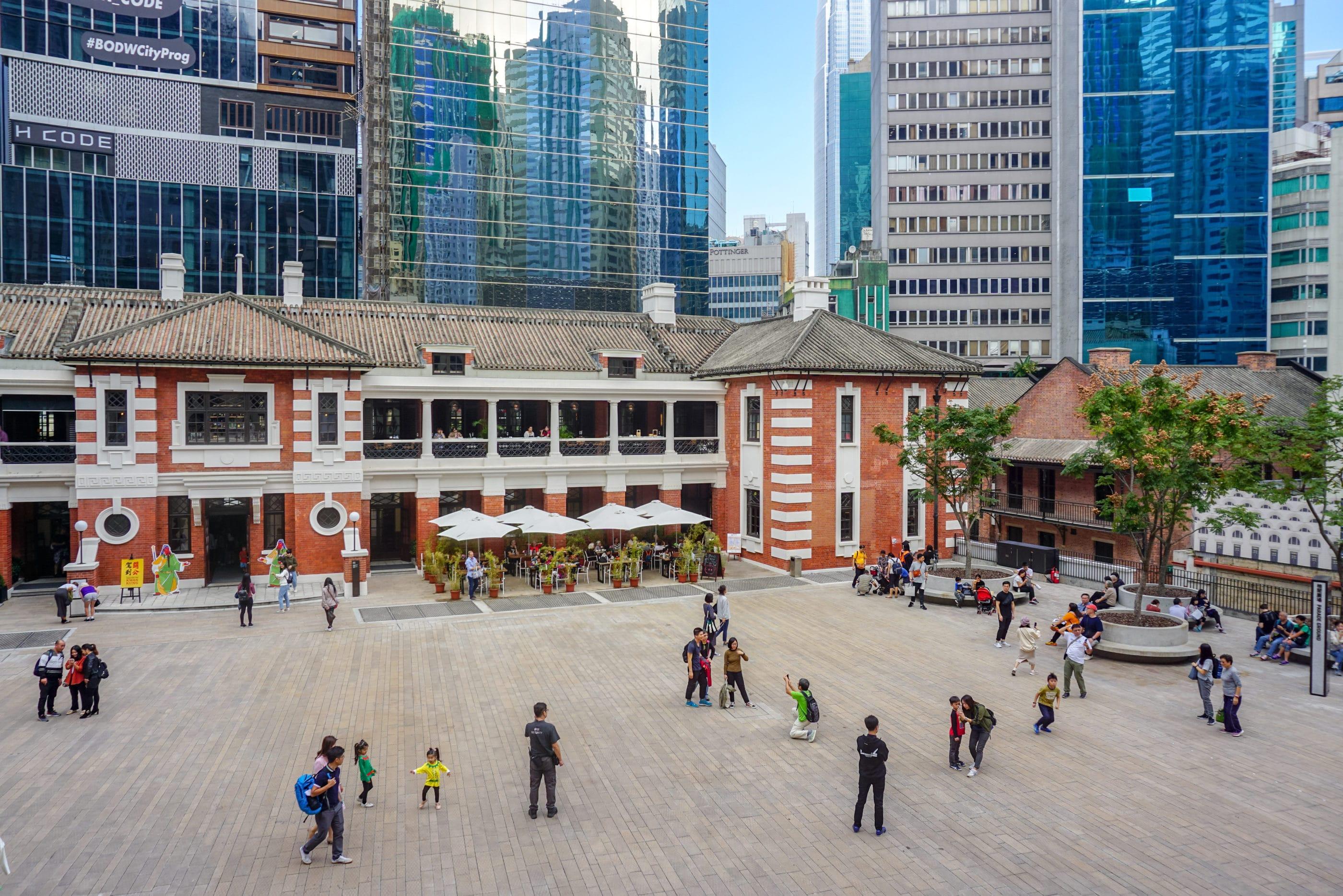 The courtyard of Tai Kwun, a fun things to do in Hong Kong with kids