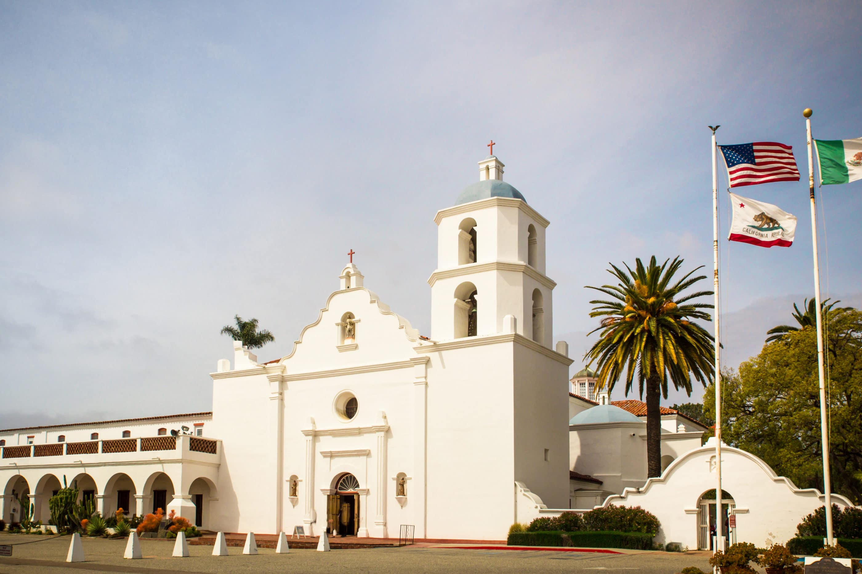 The facade of Mission San Luis Rey in Oceanside, California