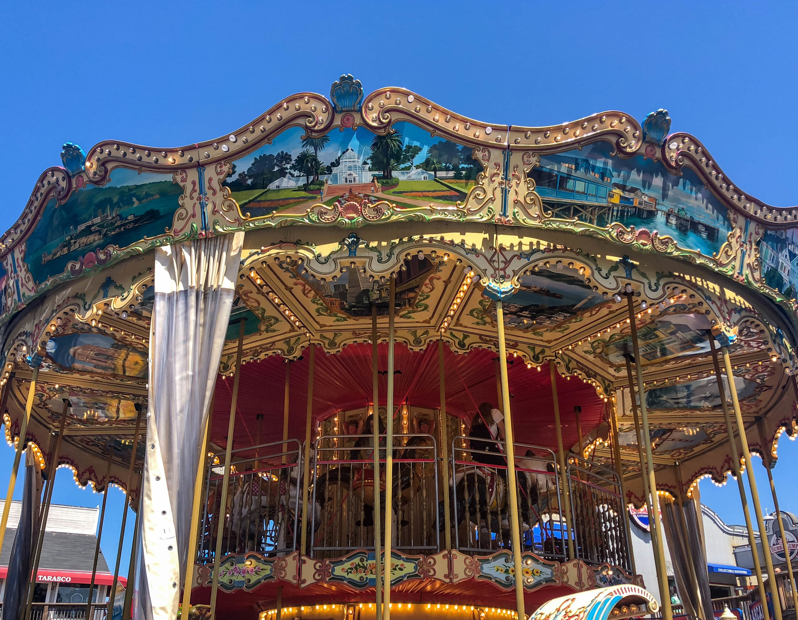 Looking up at the Carousel at Pier 39 in San Francisco