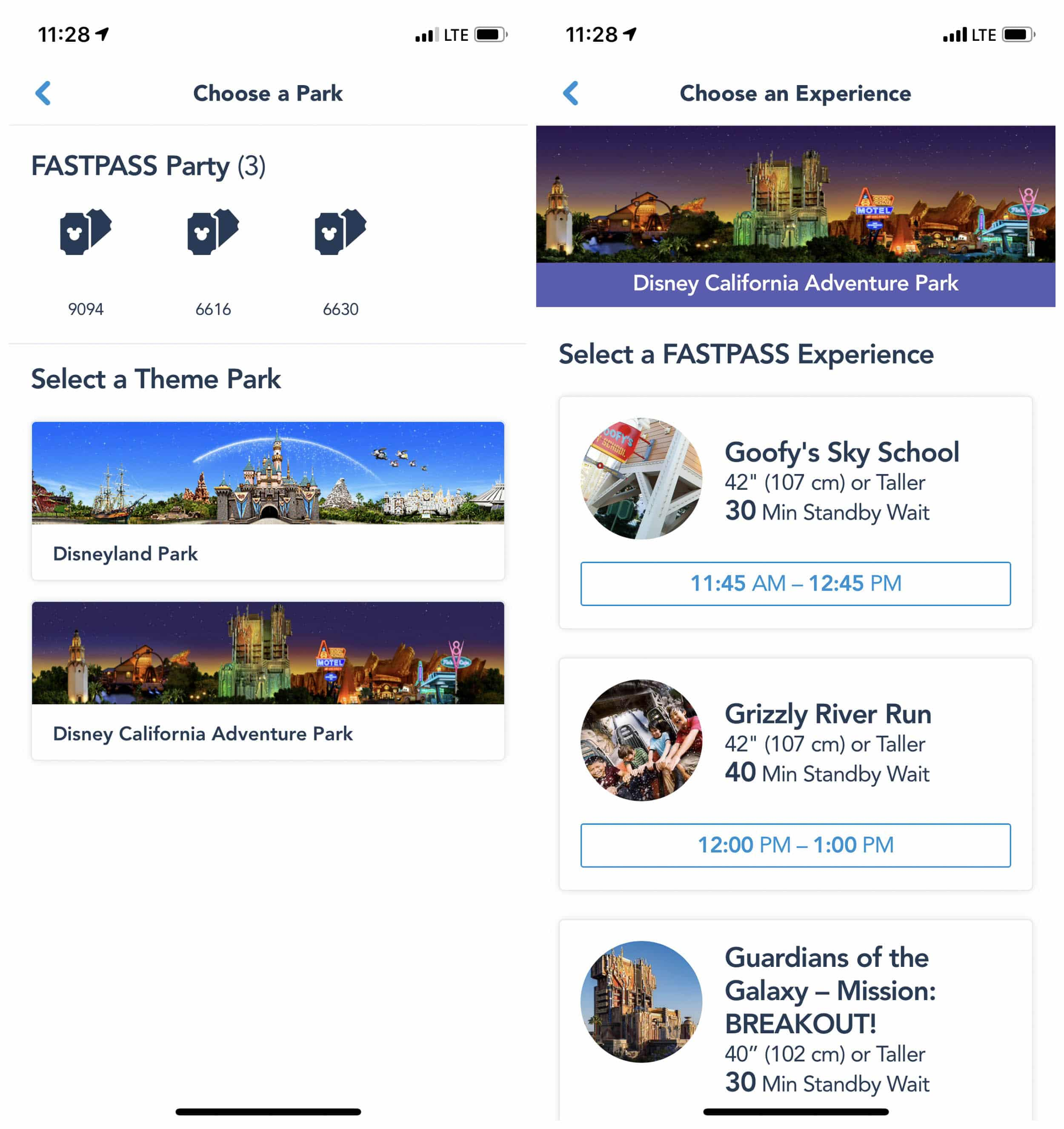 Screenshots of the MaxPass in use on the Disneyland app