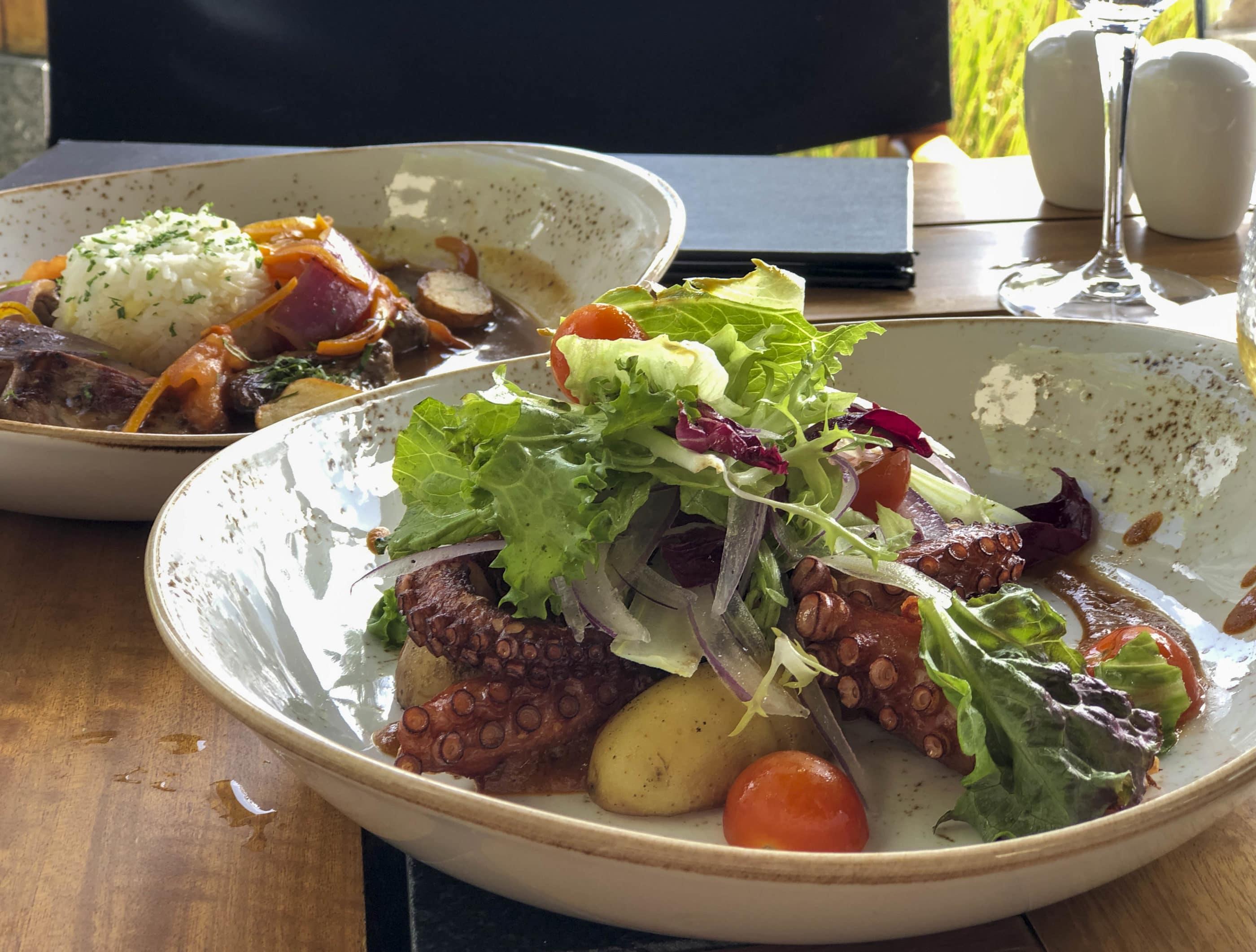 Delicious grilled octopus at Ni, the Peruvian restaurant at NIZUC Resort and Spa