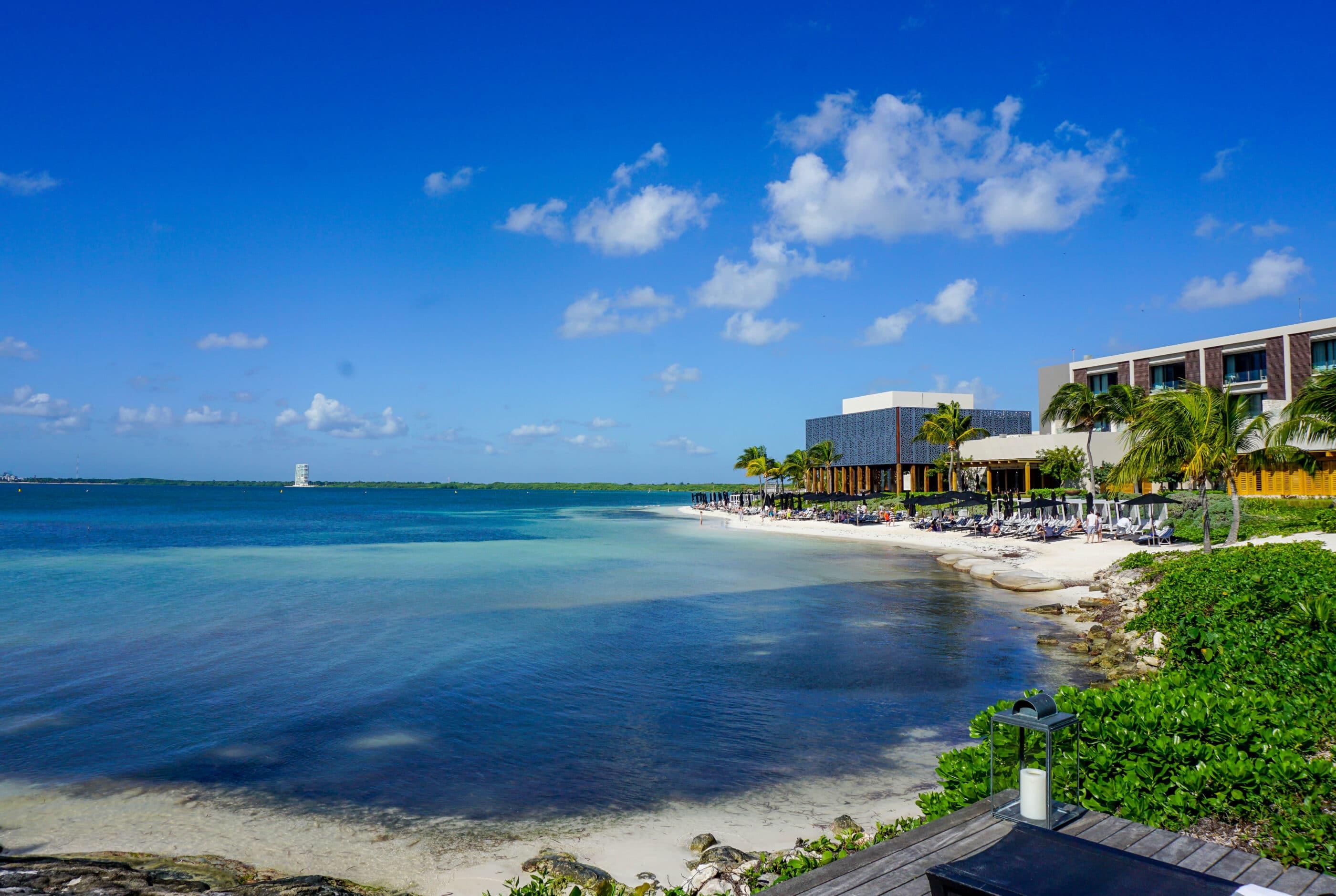 View over the sea of beachfront Nizuc Resort and Spa