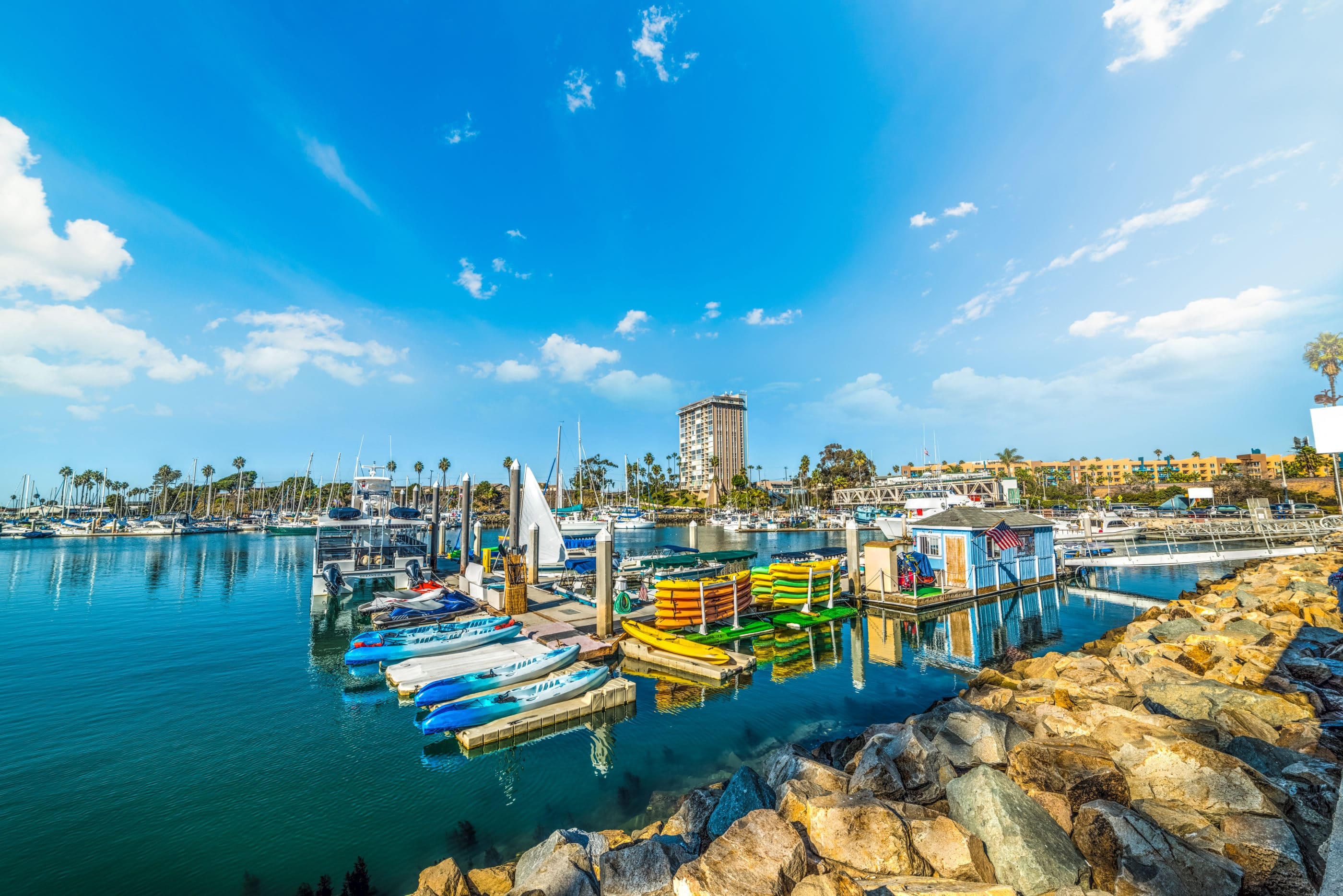 Water sports are fun things to do in Oceanside. Rent kayaks and more at Oceanside Harbor Village.