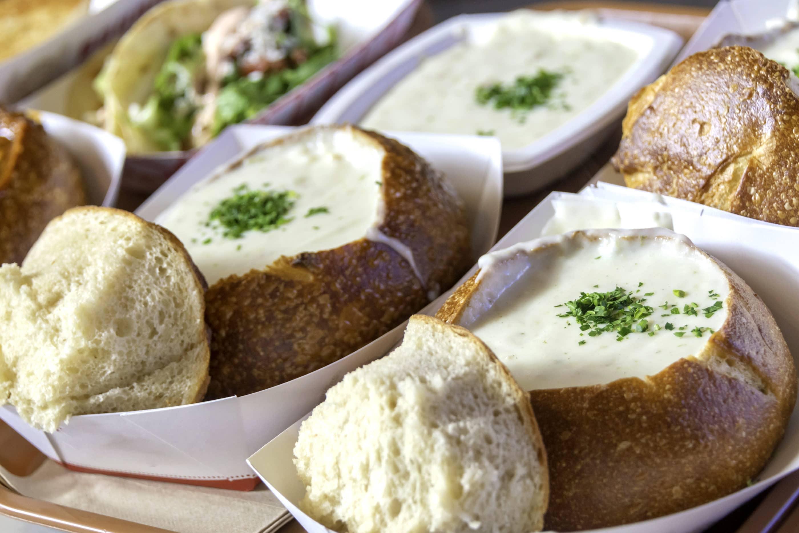 Sourdough bowls full of clam chowder