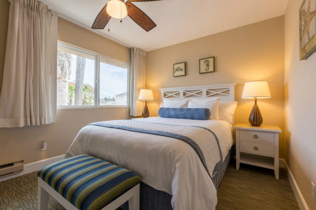 Coastal decor in a bedroom at Southern California Beach Resort