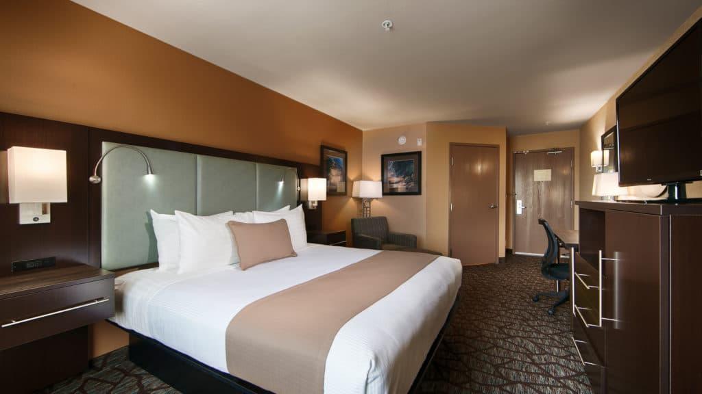 King bedroom interior at Best Western Plus Oceanside Palms