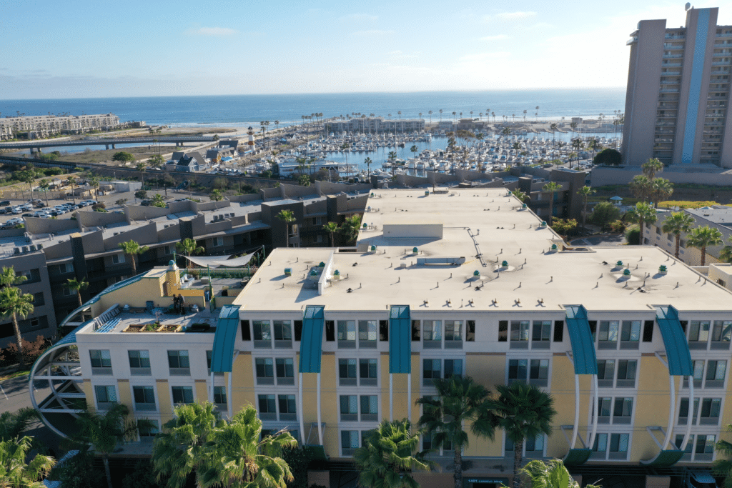 Drone photo of the marina over Holiday Inn Oceanside Marina
