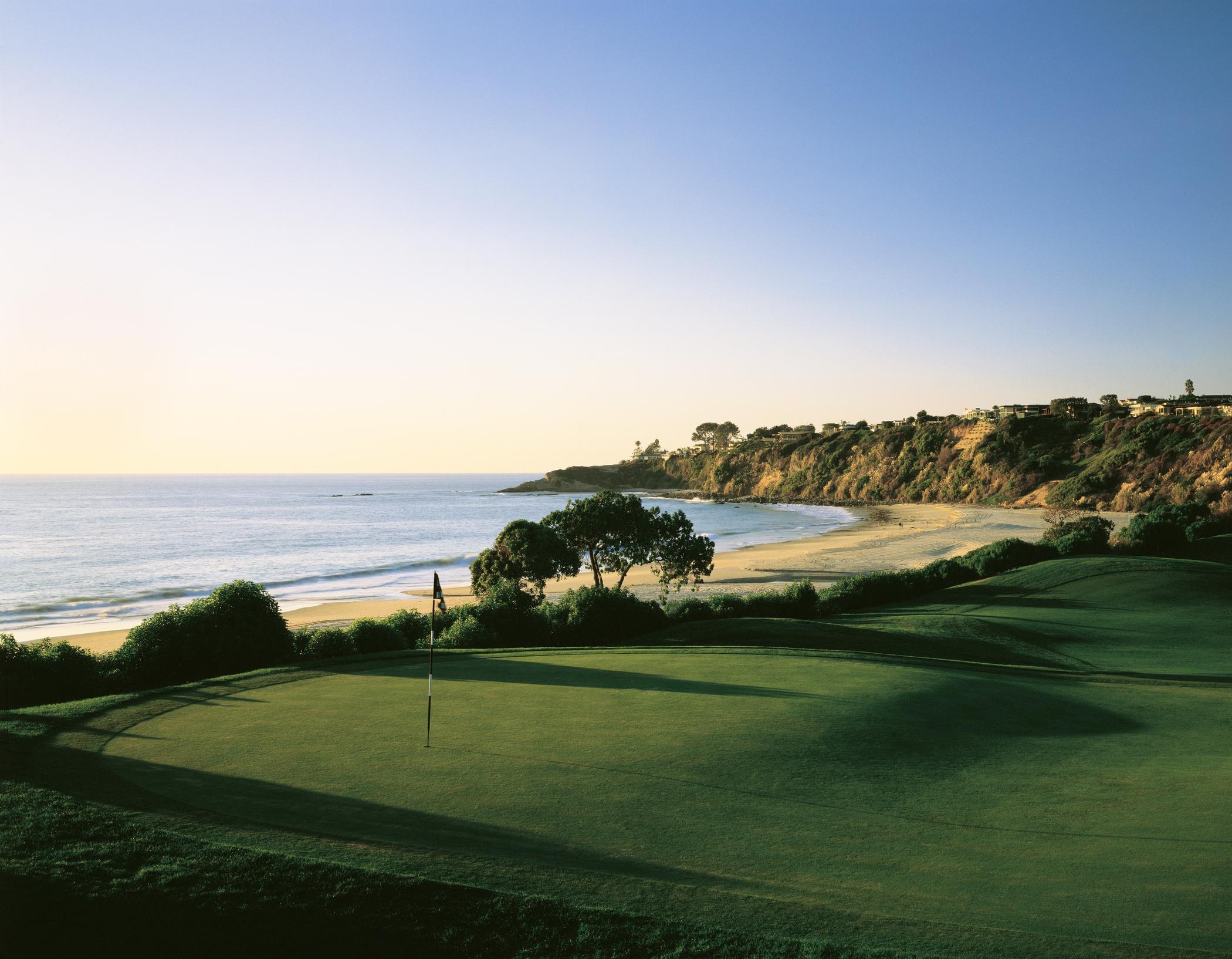 Monarch Beach Resort Golf Links hole next to the beach.