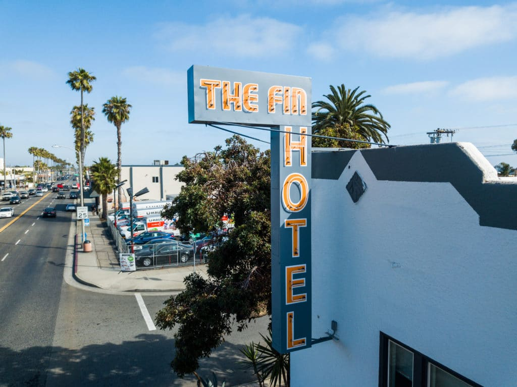 The Fin Hotel's vintage exterior sign