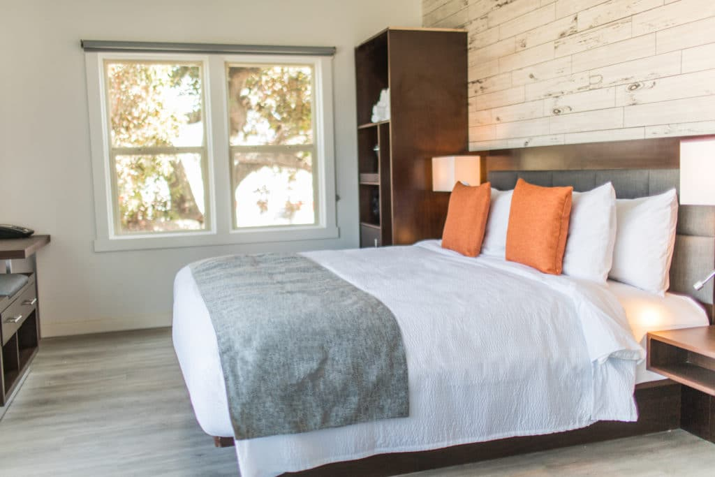 Guestroom with contemporary decor (bed with crisp white sheets, orange throw pillows and a grey blanket across the edge)
