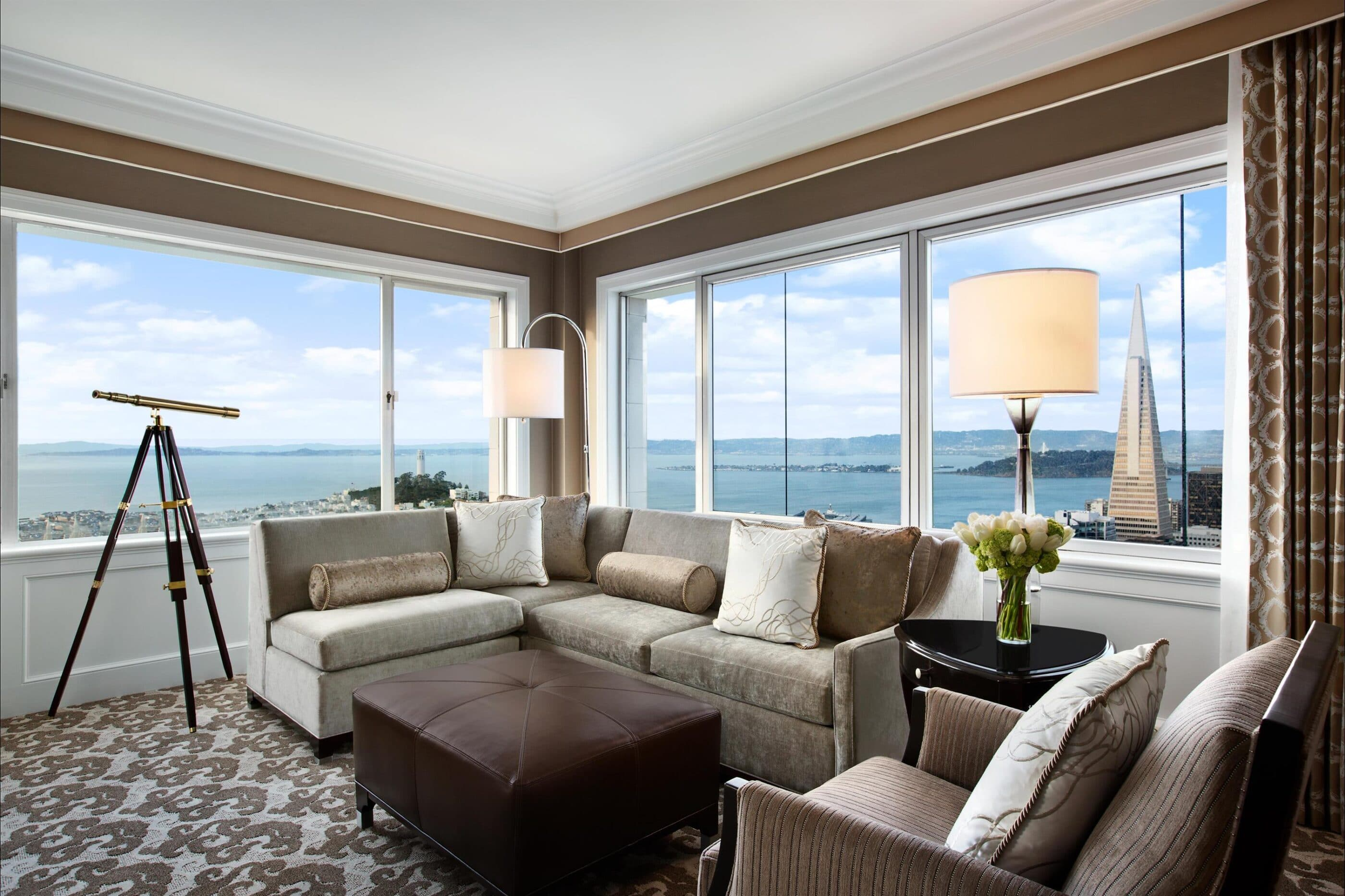 Fairmont San Francisco hotel suite with a view of the bay.