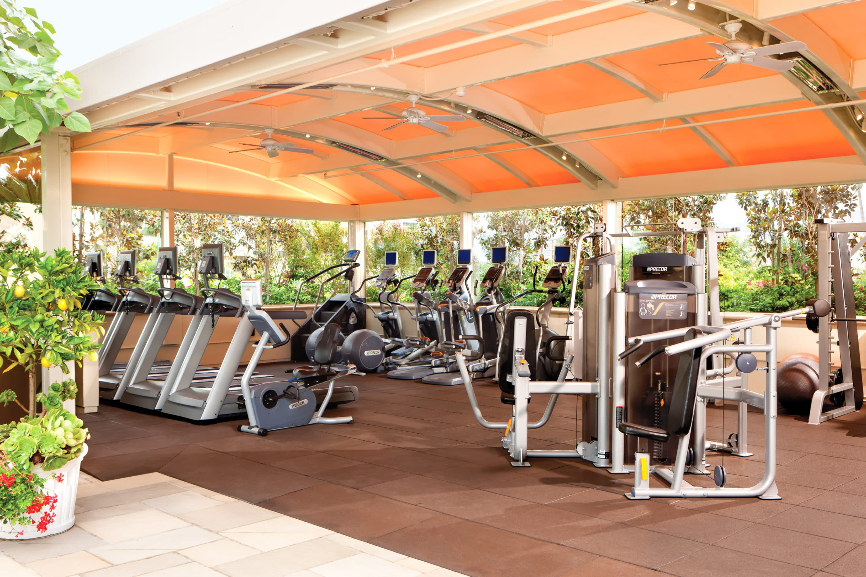 A canopy covers cardio and weight equipment at the open-air fitness center.
