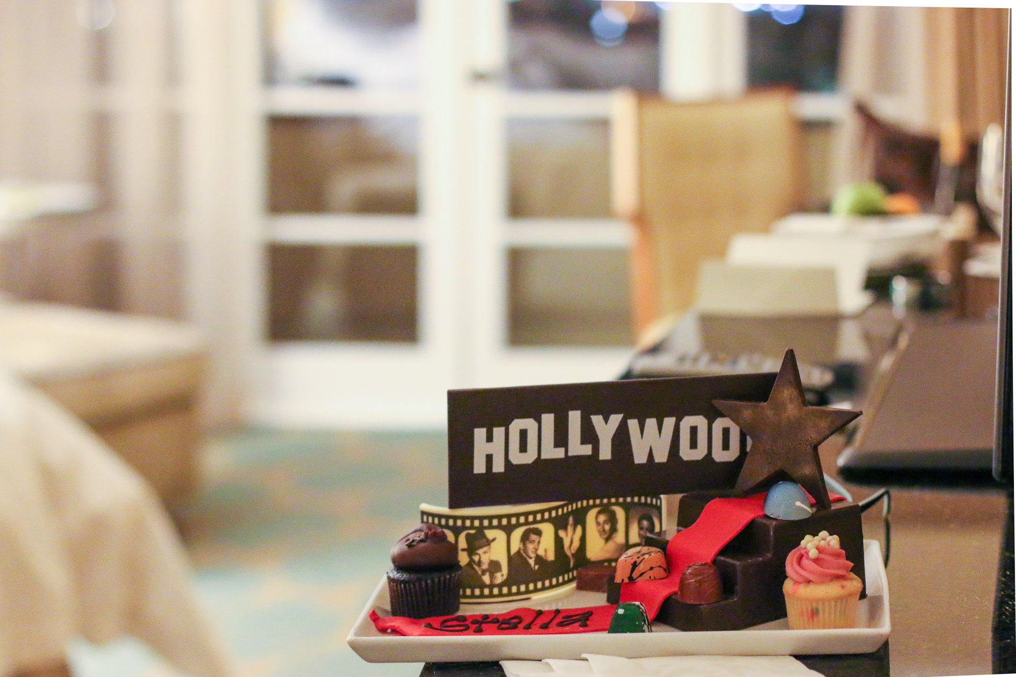 A chocolate Hollywood sign welcome amenity that was prepared for kids.