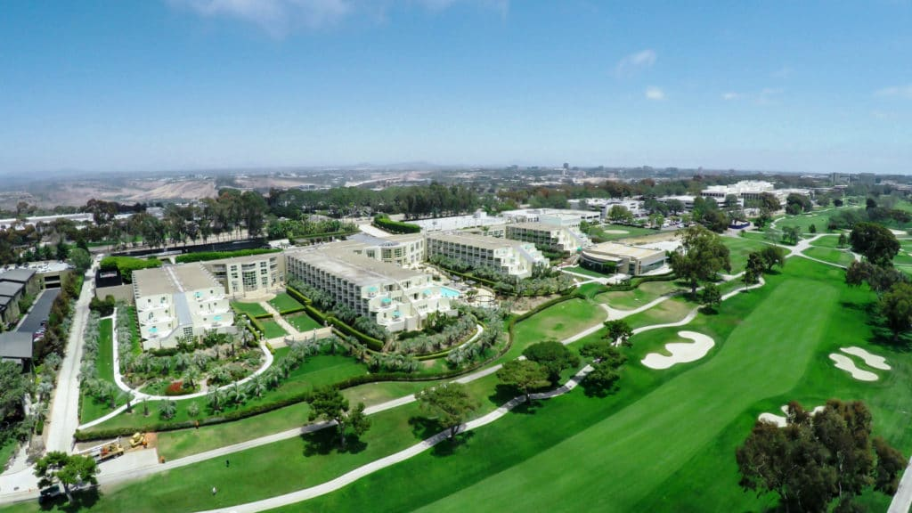 Aerial View of the Hilton Torrey Pines La Jolla set on the golf course.