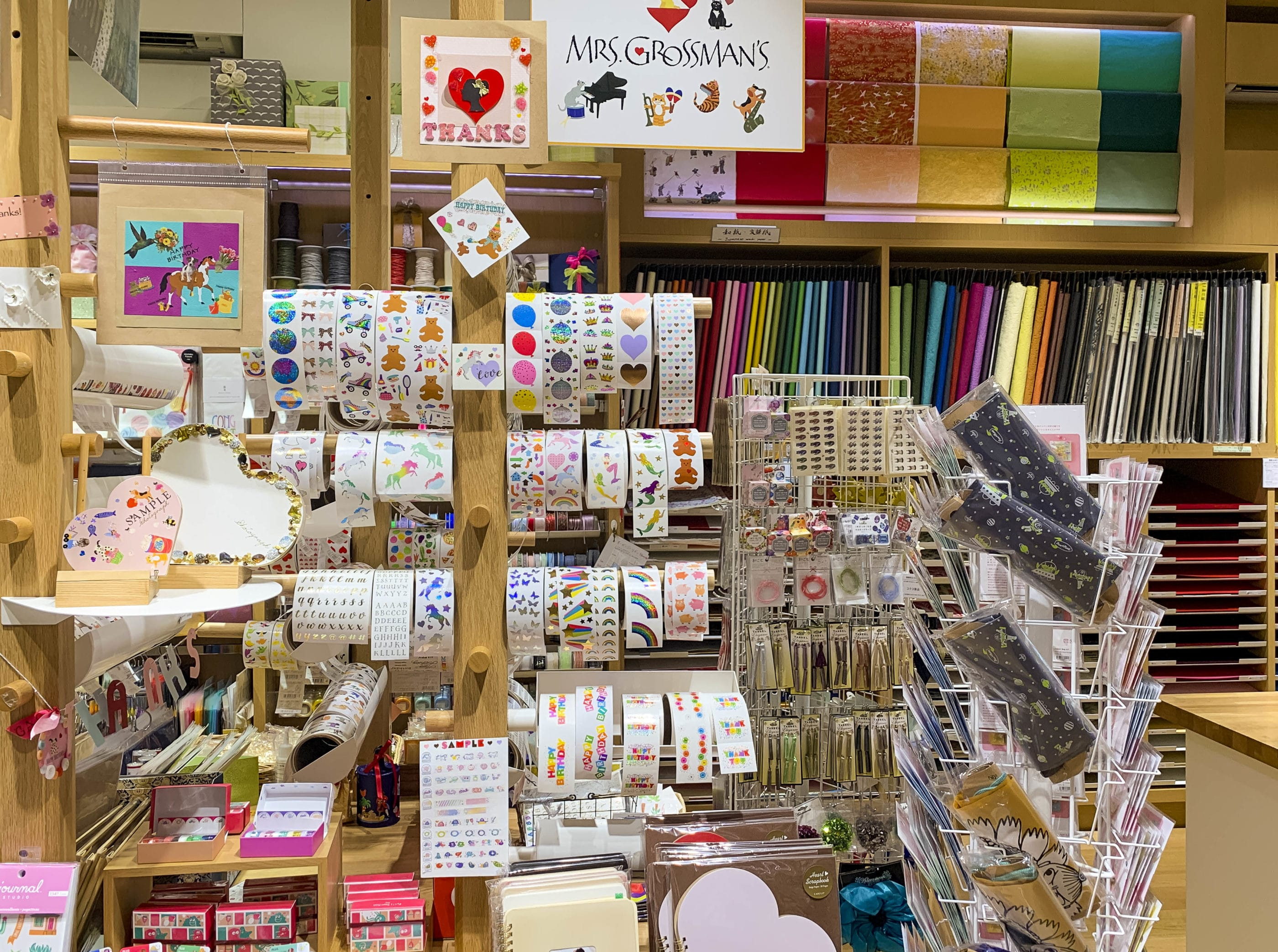 Stickers and paper on display inside Itoya stationary store in Ginza, Tokyo.