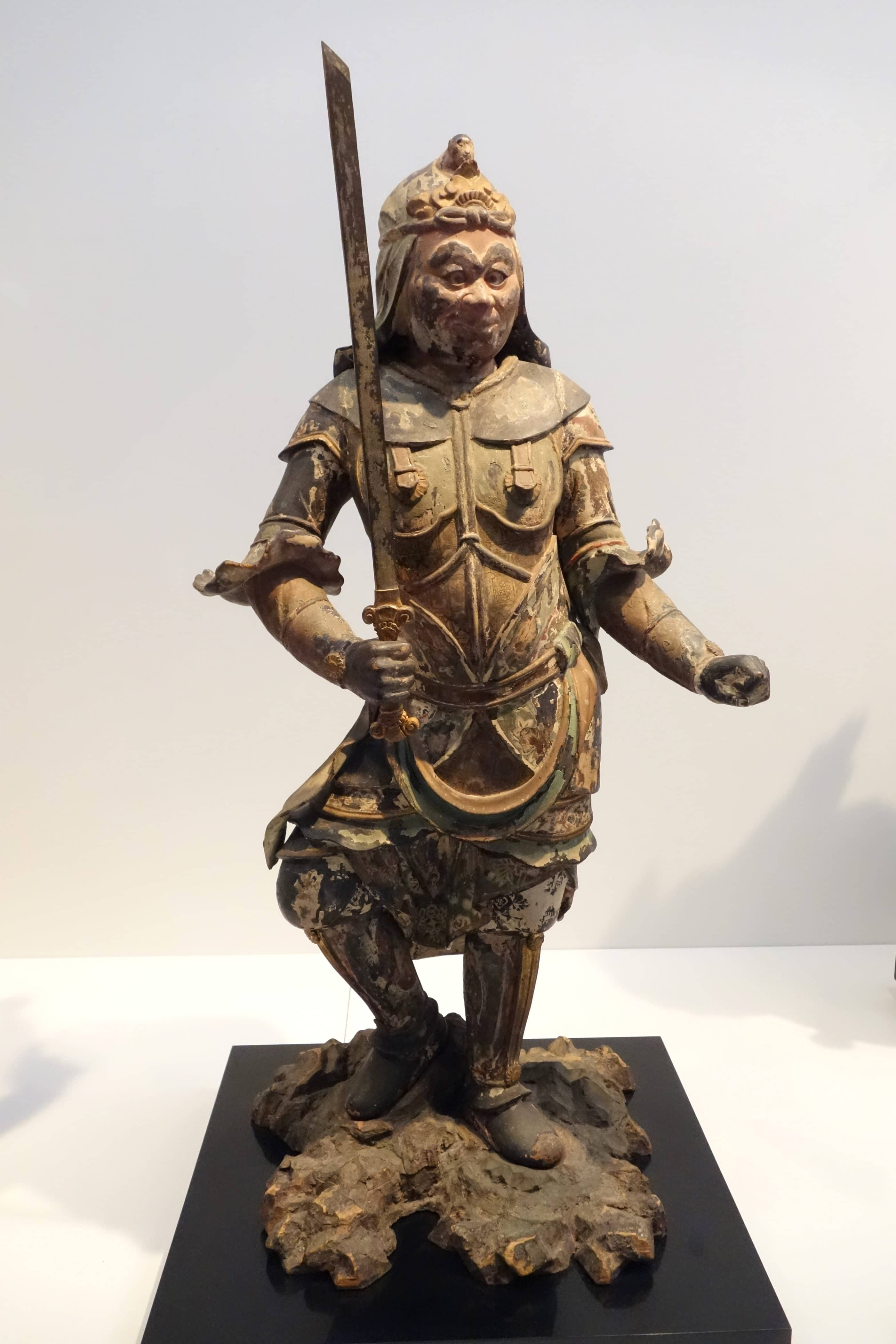 A samurai statue on display at Tokyo National Museum.