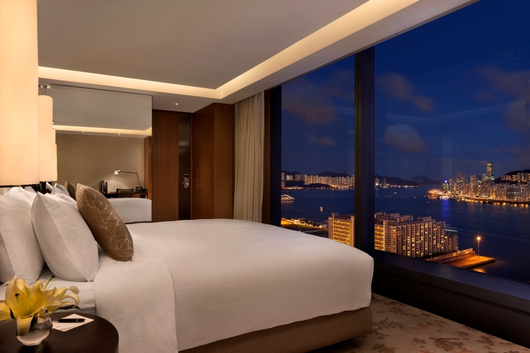 The night view from a Club 38 Harbour bedroom at Hotel Icon.