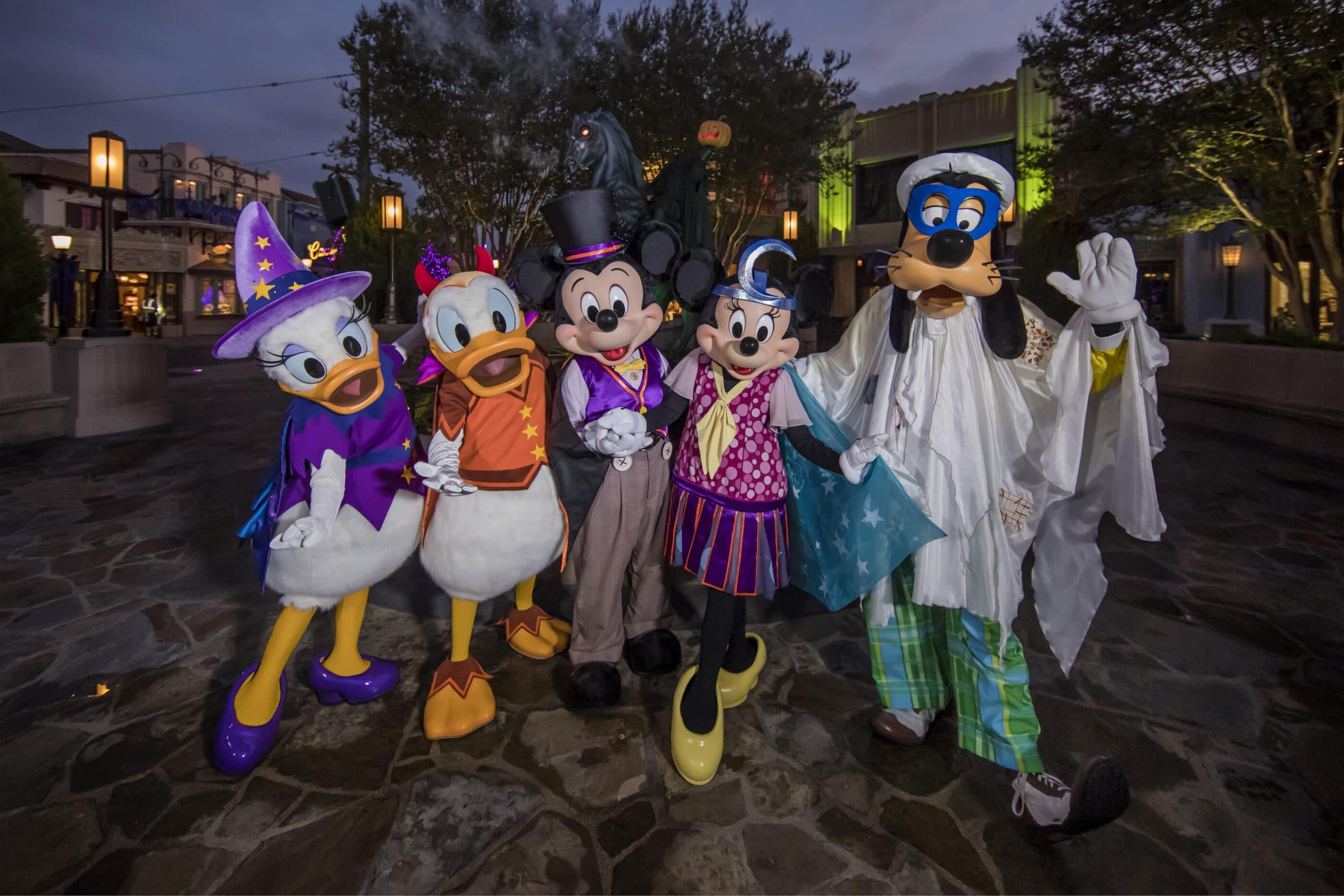Favorite Disney characters dressed up in Halloween costumes.