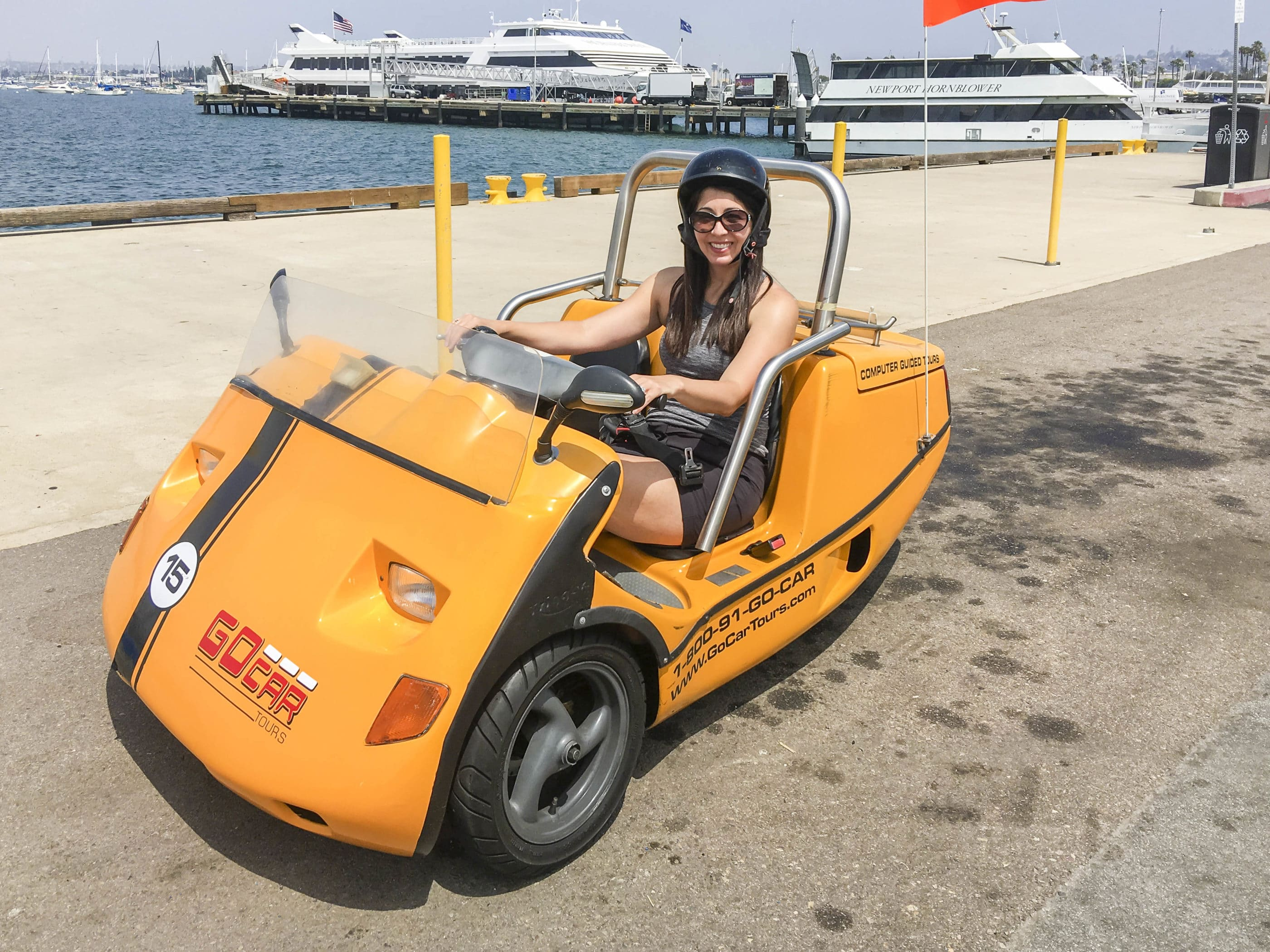 Me in a little yellow GoCar in downtown San Diego.