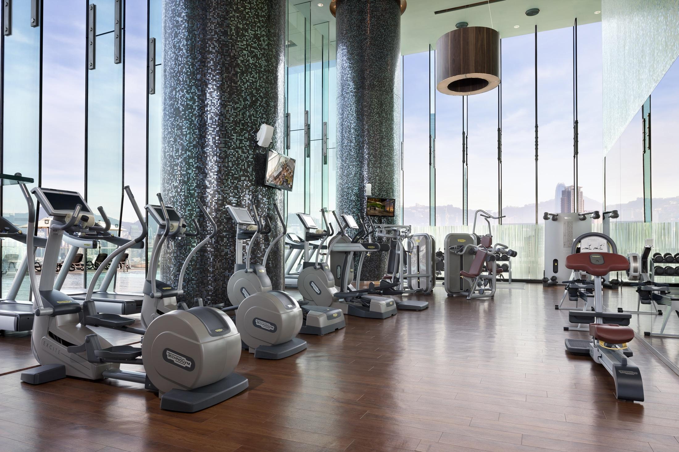 Cardo equipment inside the gym looks over the harbour through floor to ceiling windows.