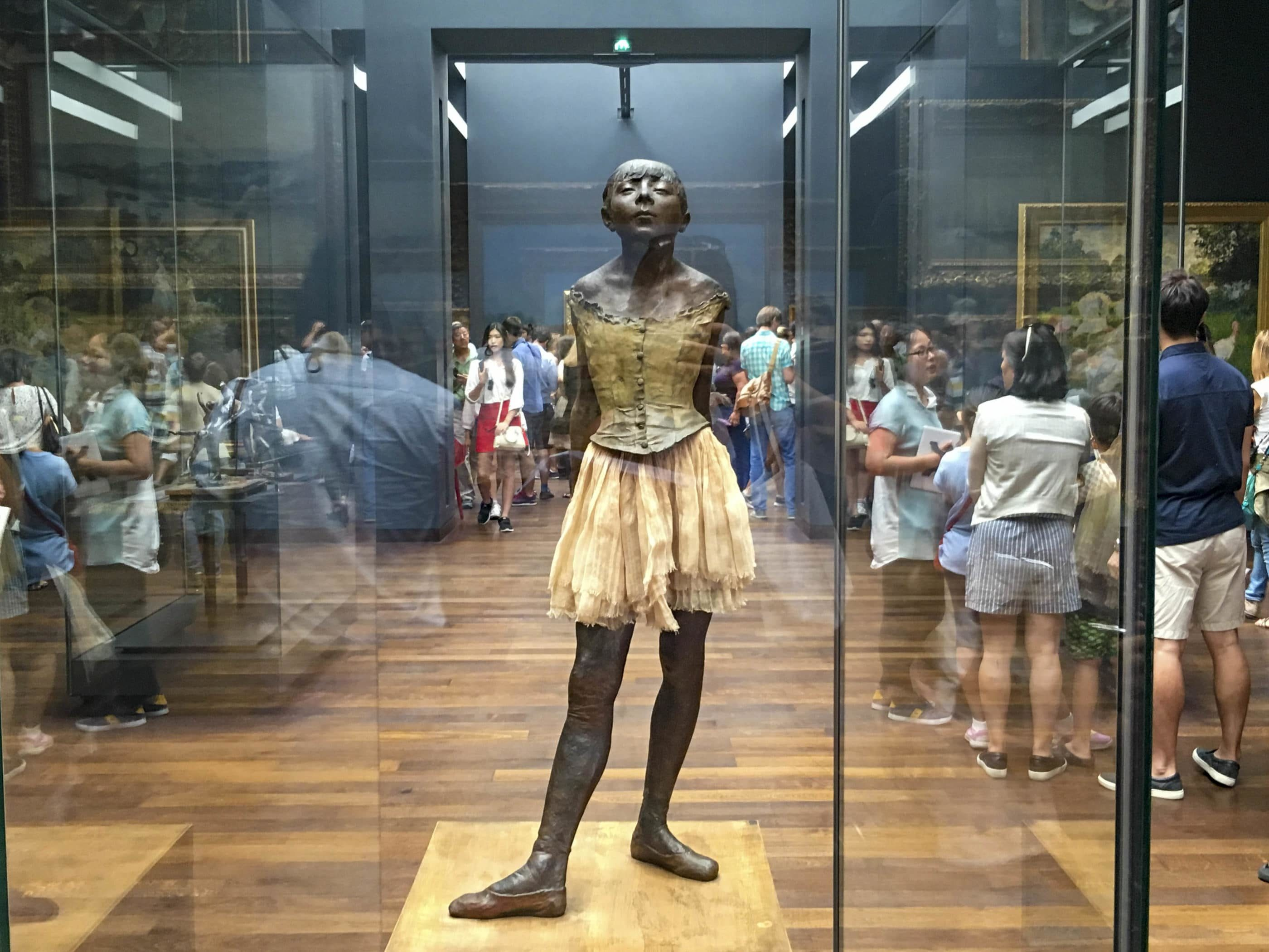 The Small Dancer Aged 14 statue inside glass at Musee d'Orsay