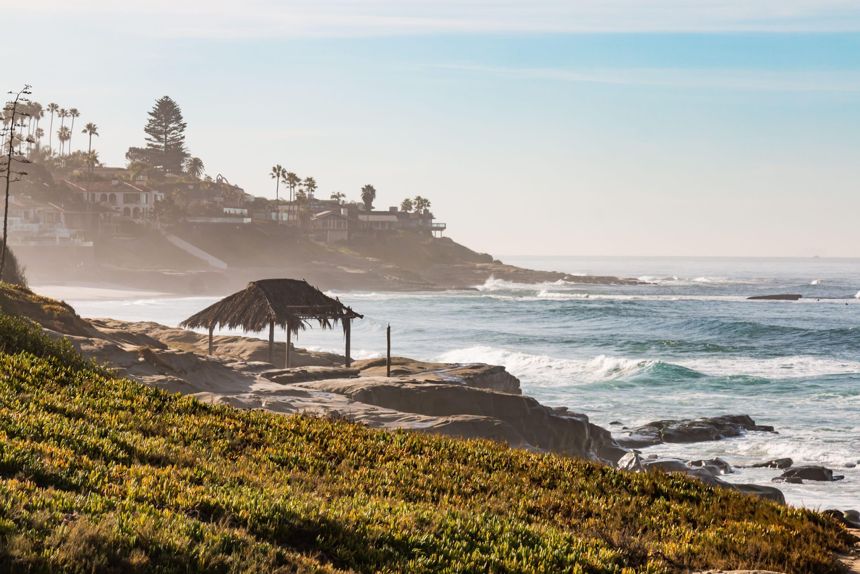 The Windansea shack overlooking the ocean.