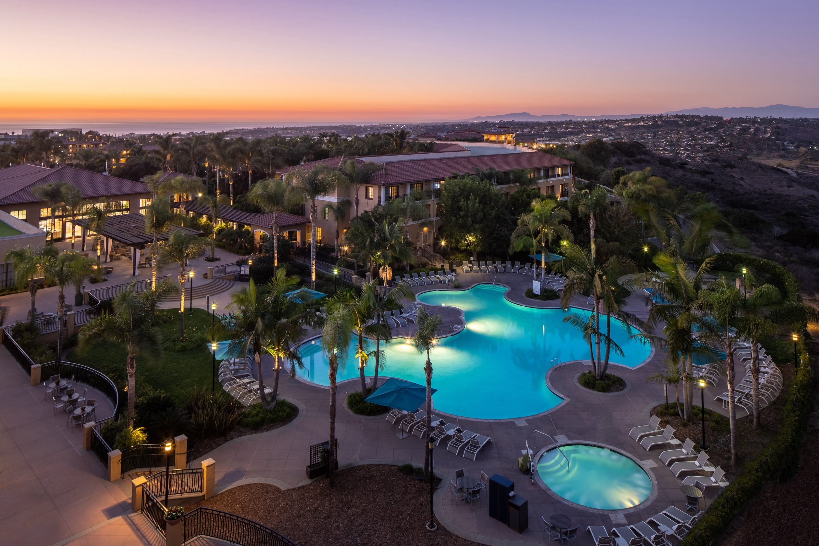 Aerial view to the ocean of Westin Carlsbad Resort & Spa palm tree lined pool.