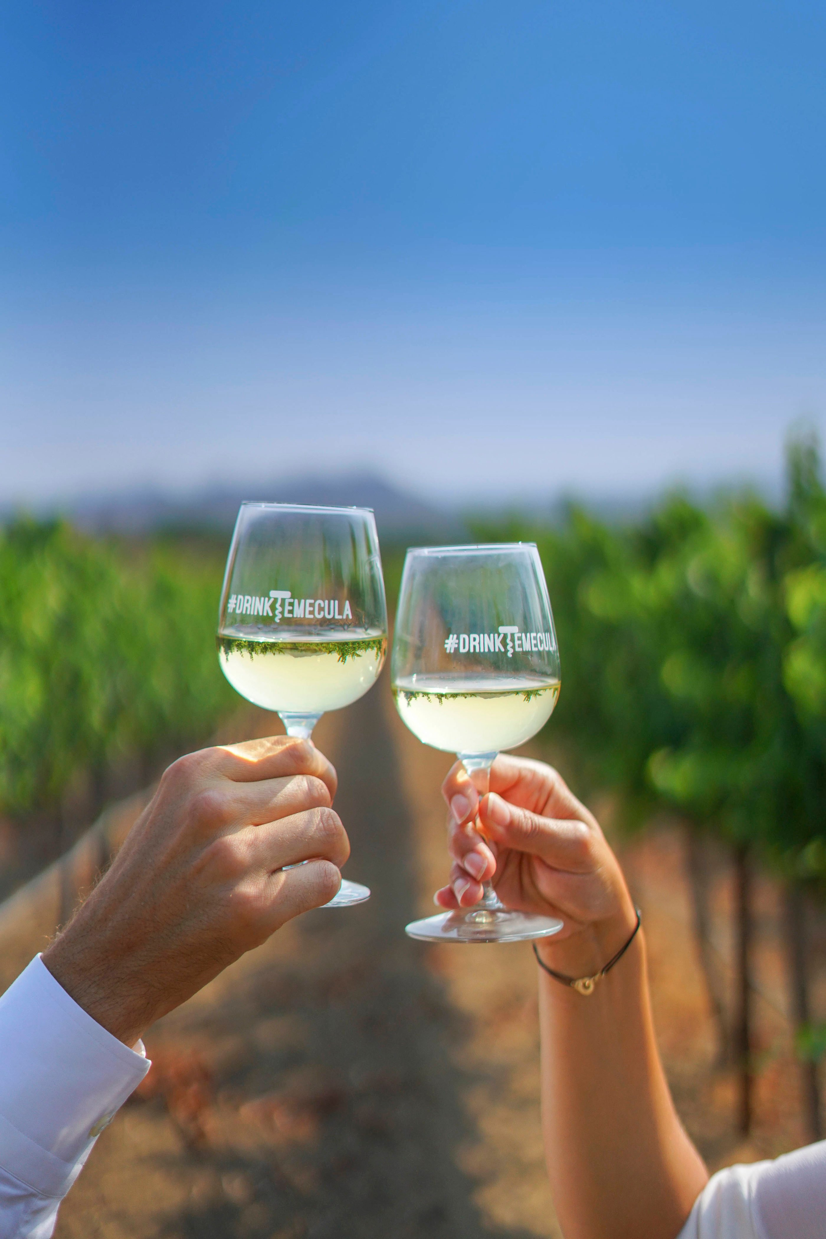 A man and a woman each hold a glass of white wine with vineyards faded in the background.