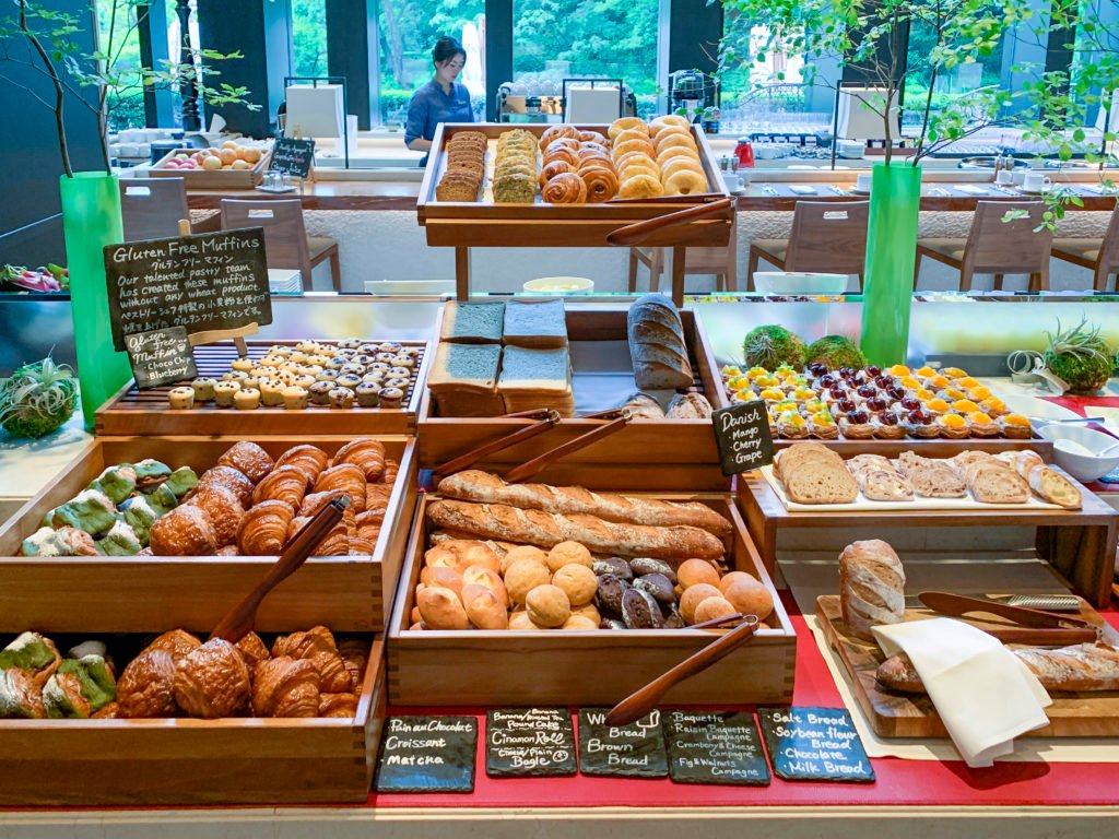 Fresh breads and pastries at the Brasserie breakfast buffet inside Four Seasons Kyoto.