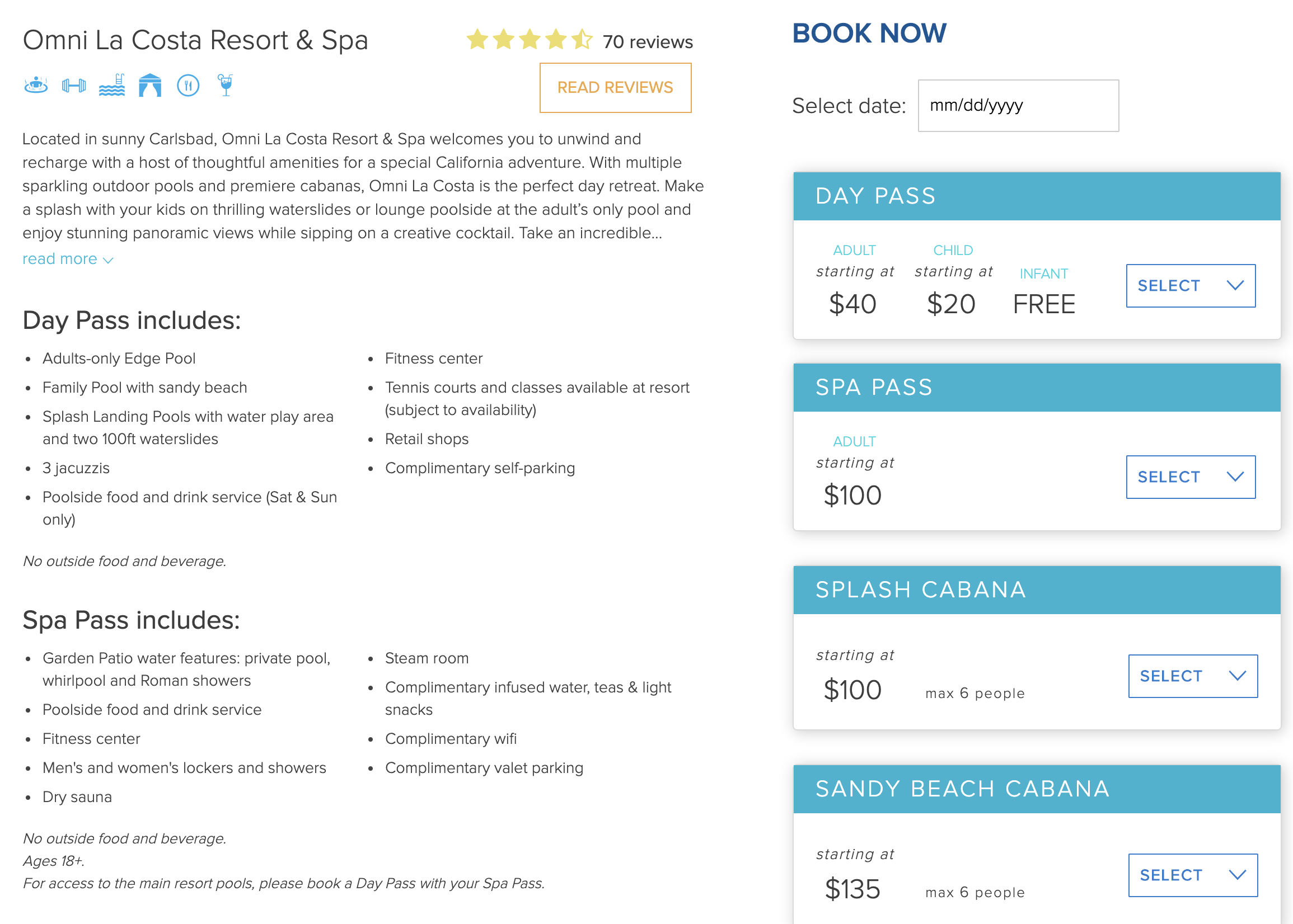 The available options for cabanas and day passes at Omni La Costa Resort and Spa in San Diego.
