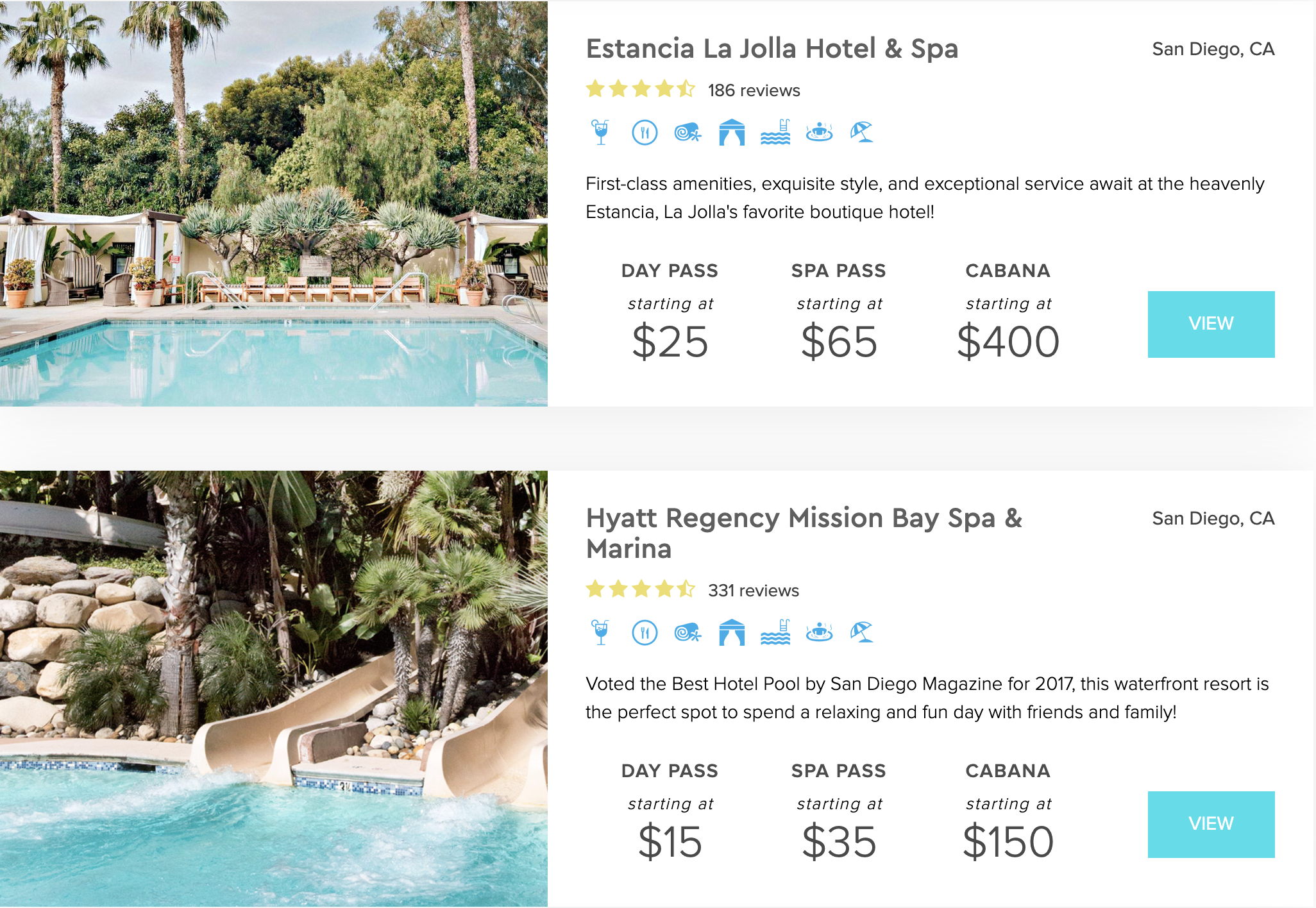 Screenshot of hotels with pools available for day passes that a user sees on ResortPass after searching a city.