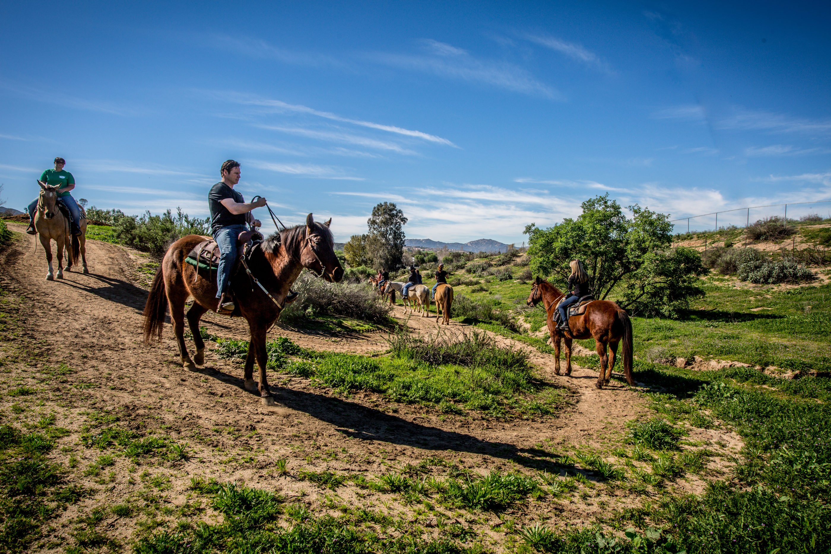 A group horseback riding on a trail in Temecula Valley.