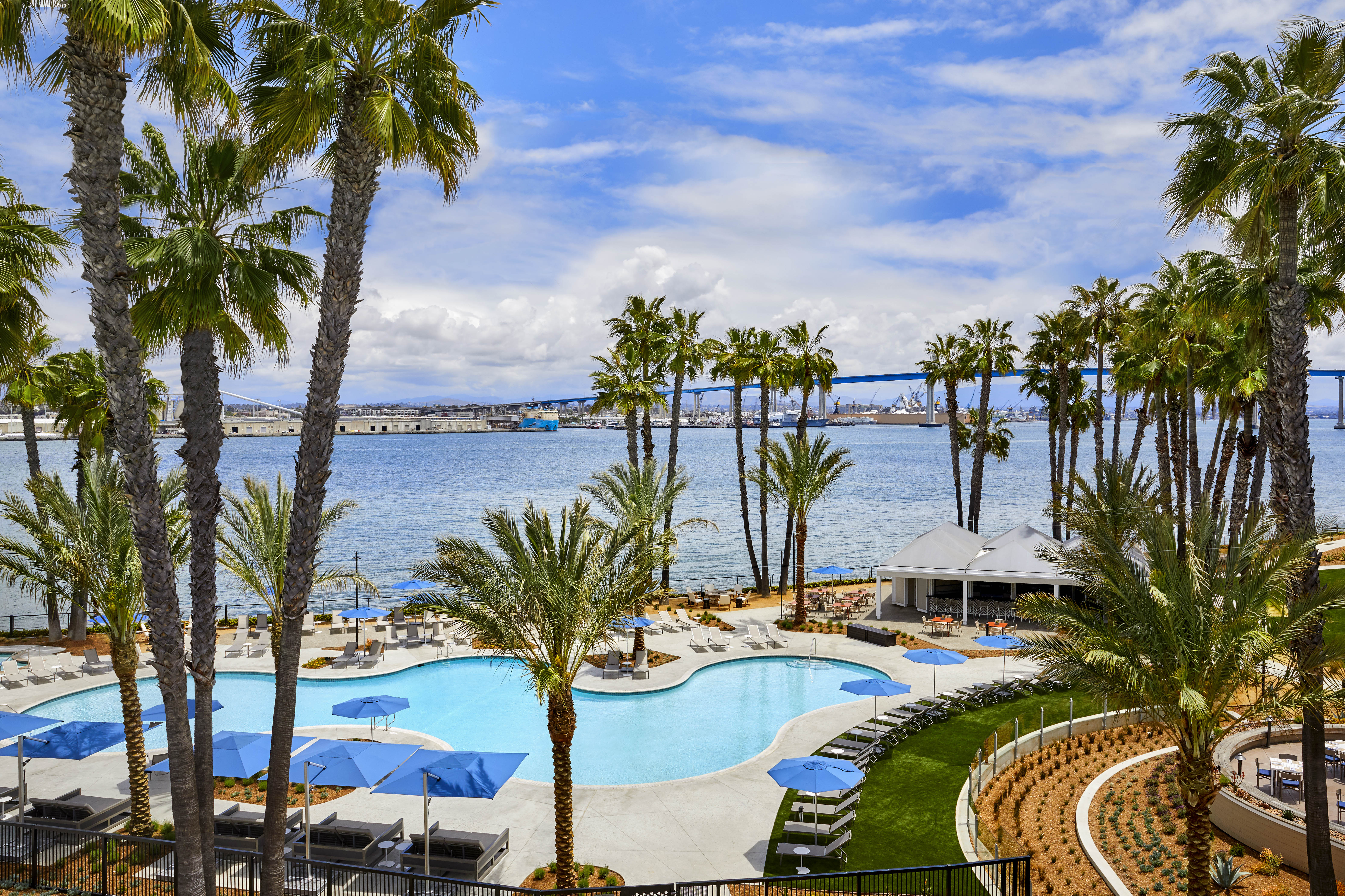 The outdoor pool overlooking the San Diego Bay and Coronado Bridge on a sunny day.