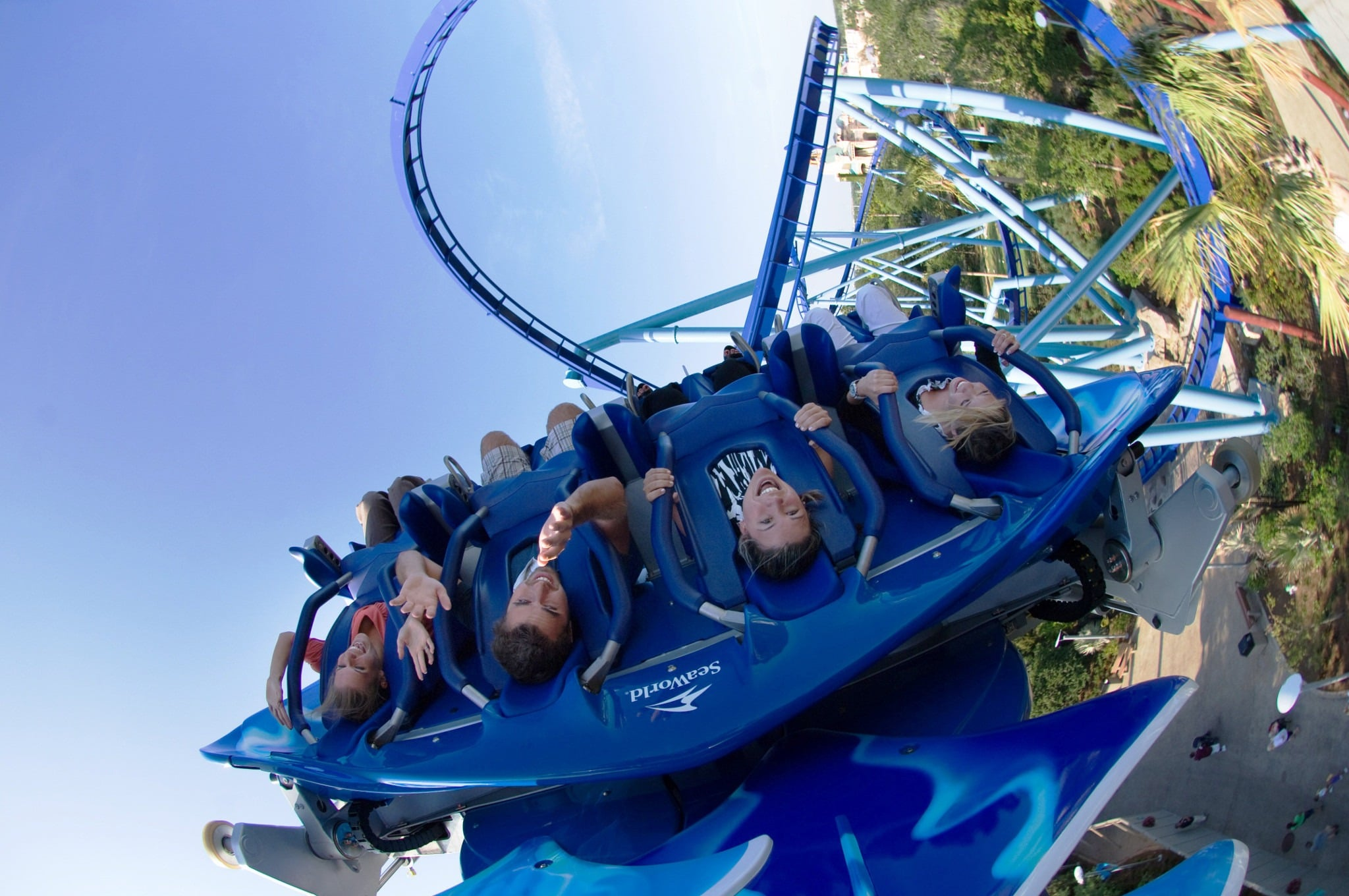 Guests ride Manta roller coaster at SeaWorld Orlando.