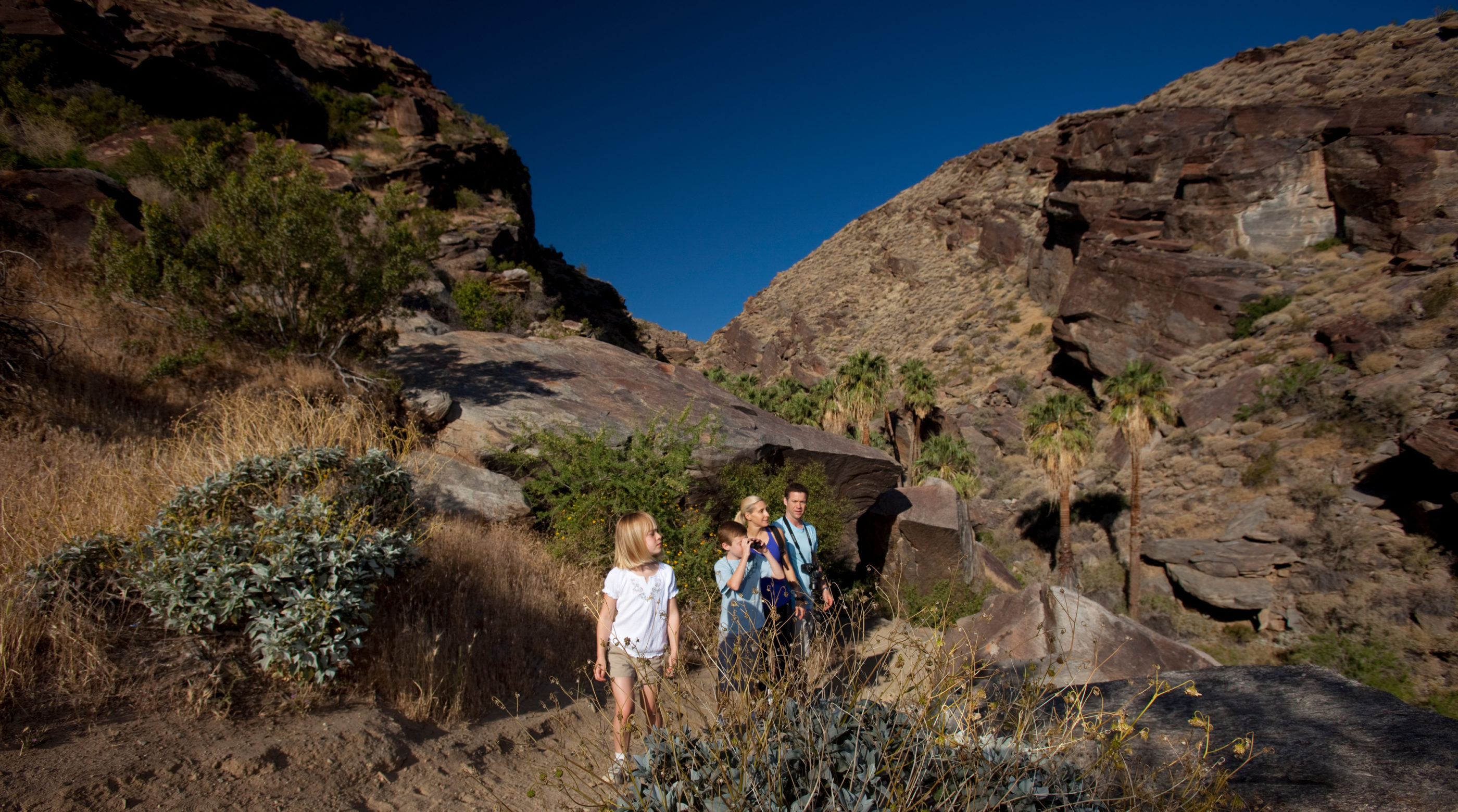 A family hikes through Indian Canyons on a trail with rocky hills in the background.