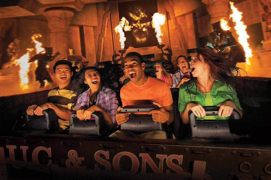 People in the front row of the Mummy ride at Universal Studios Hollywood