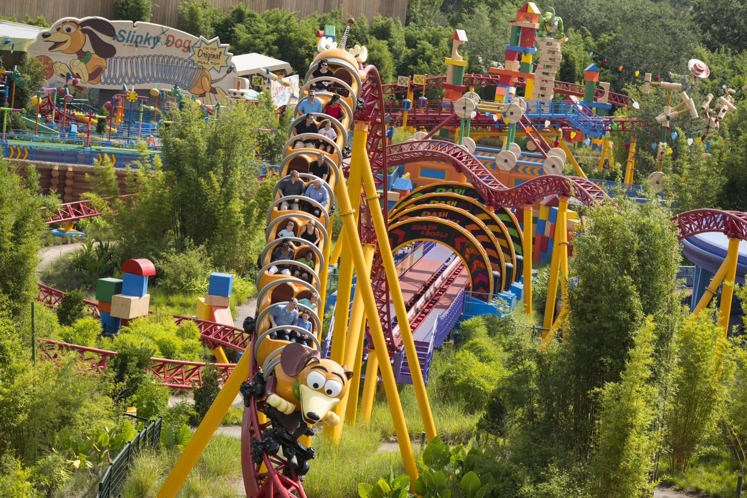 Riders enjoy the mild Slinky Dog Dash coaster in Toy Story Land.