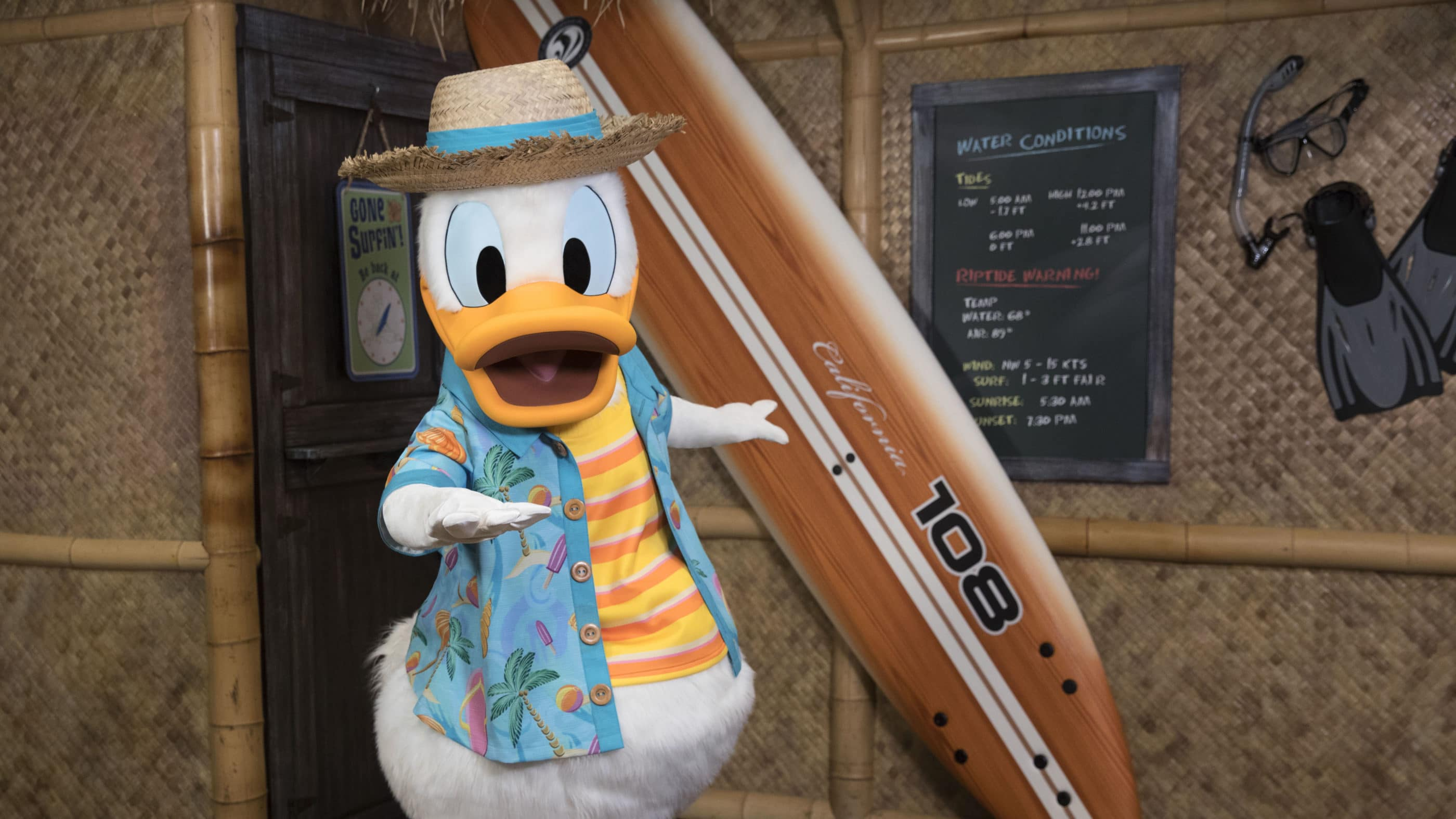 Donald Duck poses in vacation wear next to a surfboard at