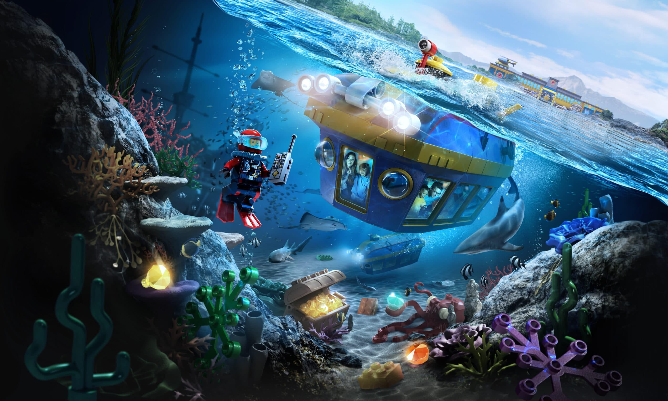 Riders submerge underwater in a submarine during LEGO City Deep Sea Adventure