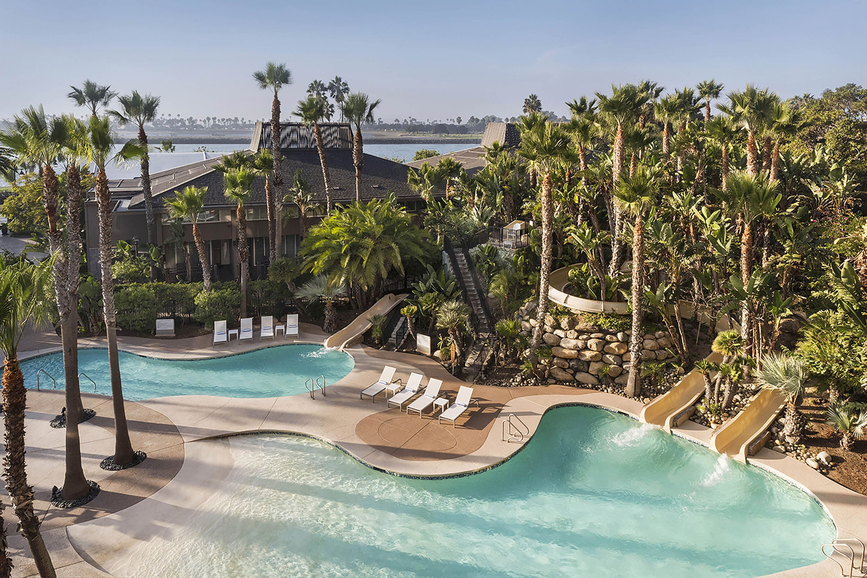 Two of the three pools and three water slides at Hyatt Regency Mission Bay Spa and Marina, a top San Diego resort.