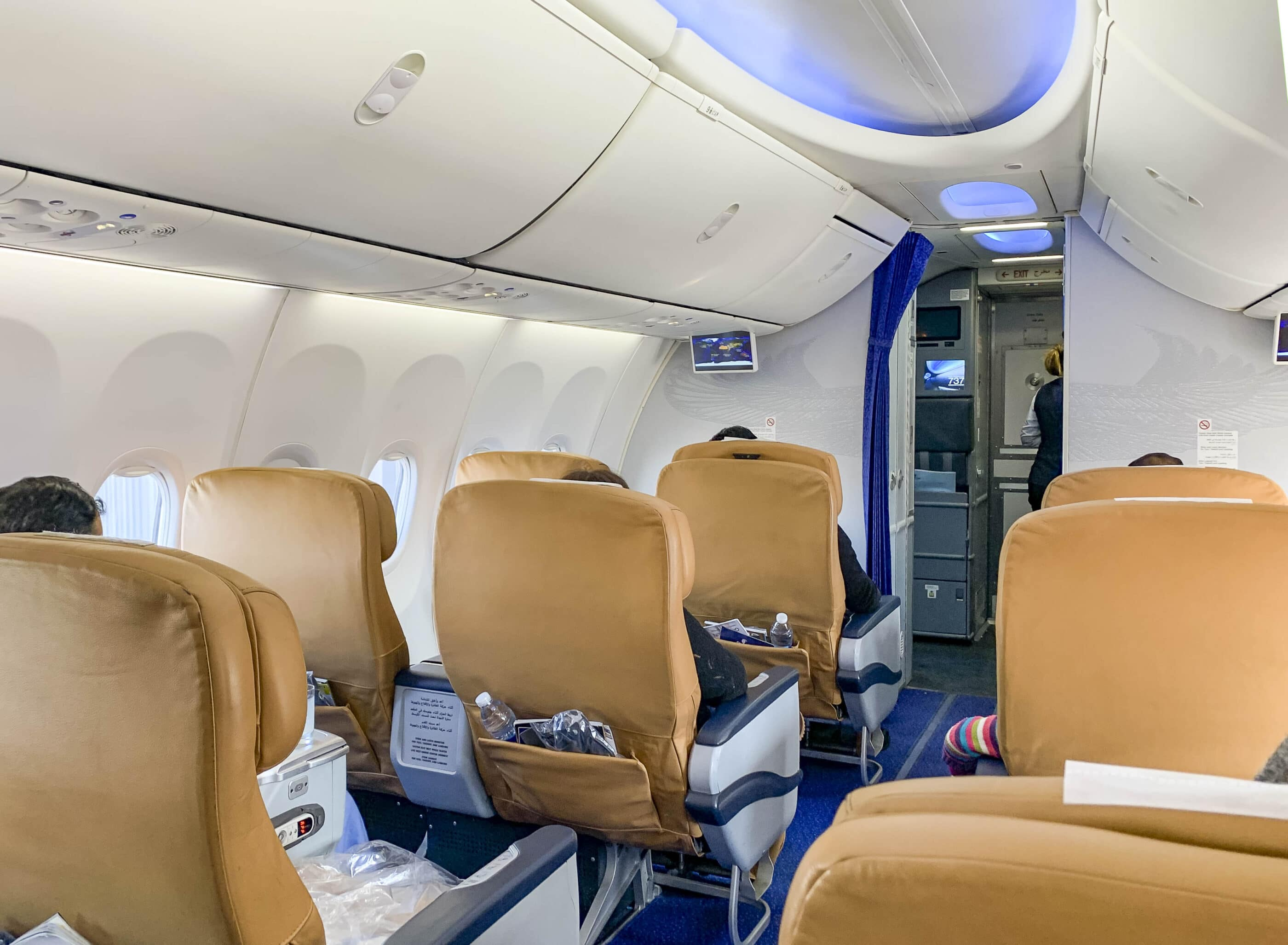 The business class cabin of a 737-800 to Cairo