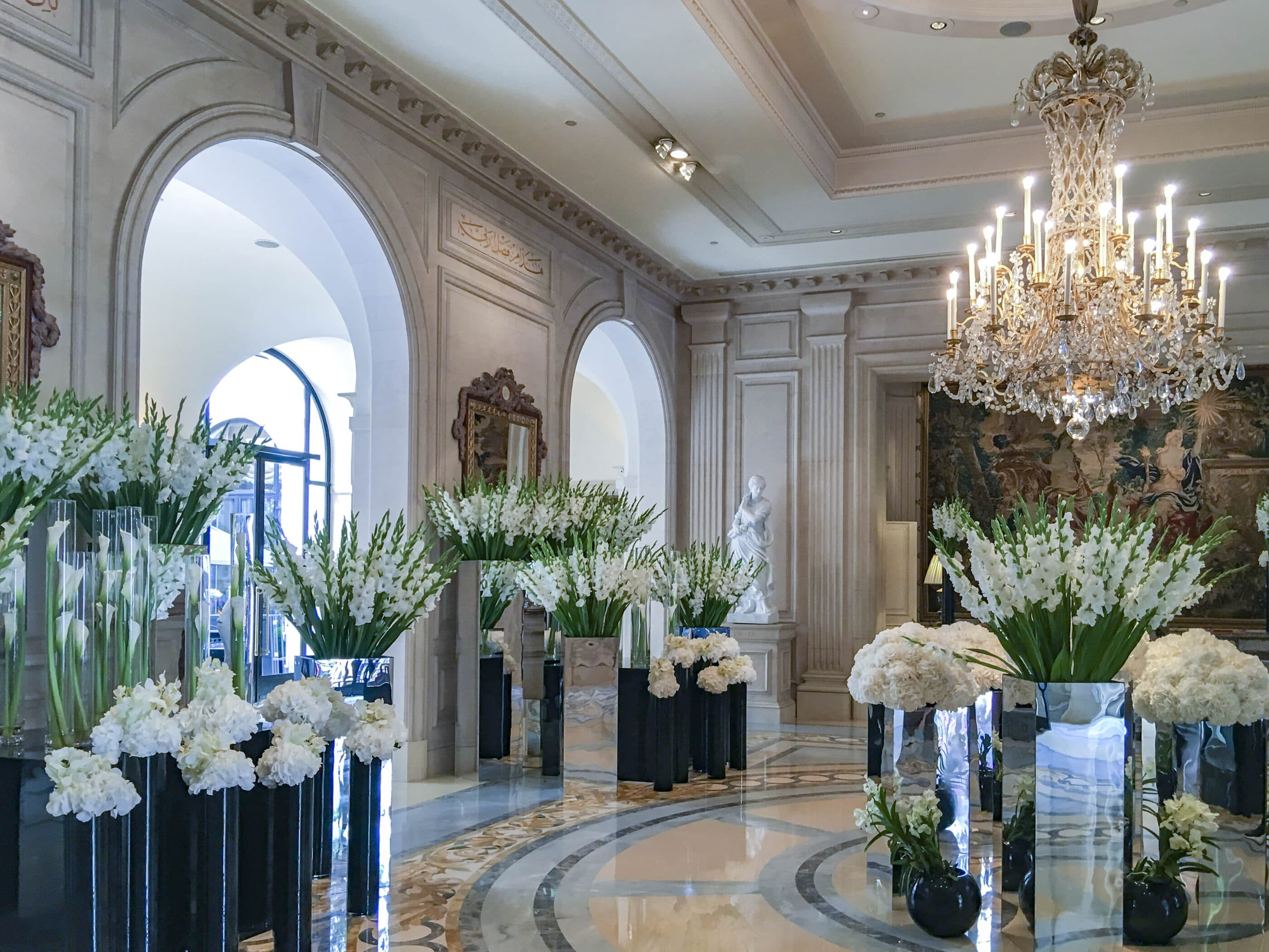 Gorgeous white flowers on display in the lobby by Jeff Leatham.