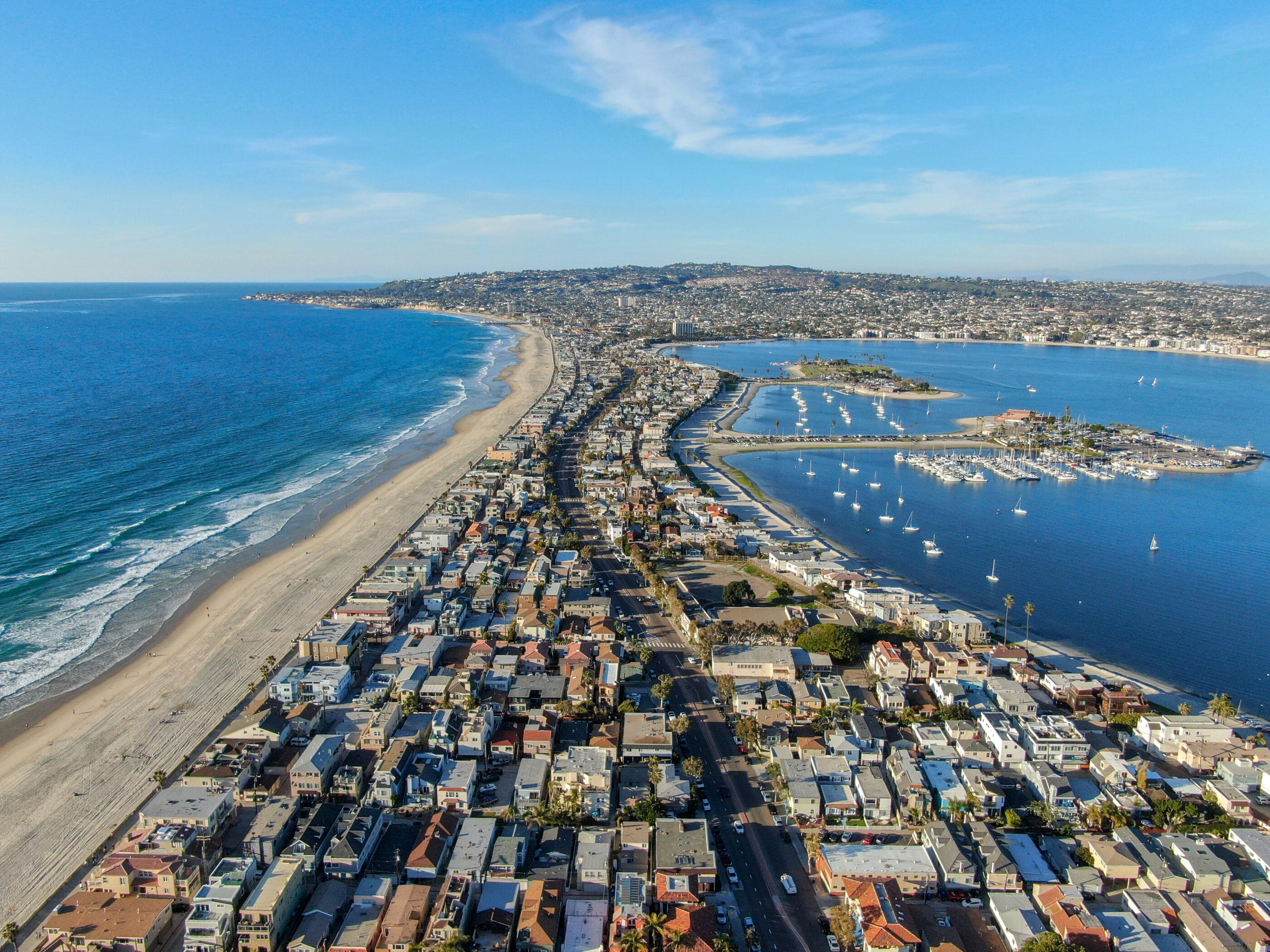 Aerial view of vacation rental homes along Mission Beach and Mission Bay.