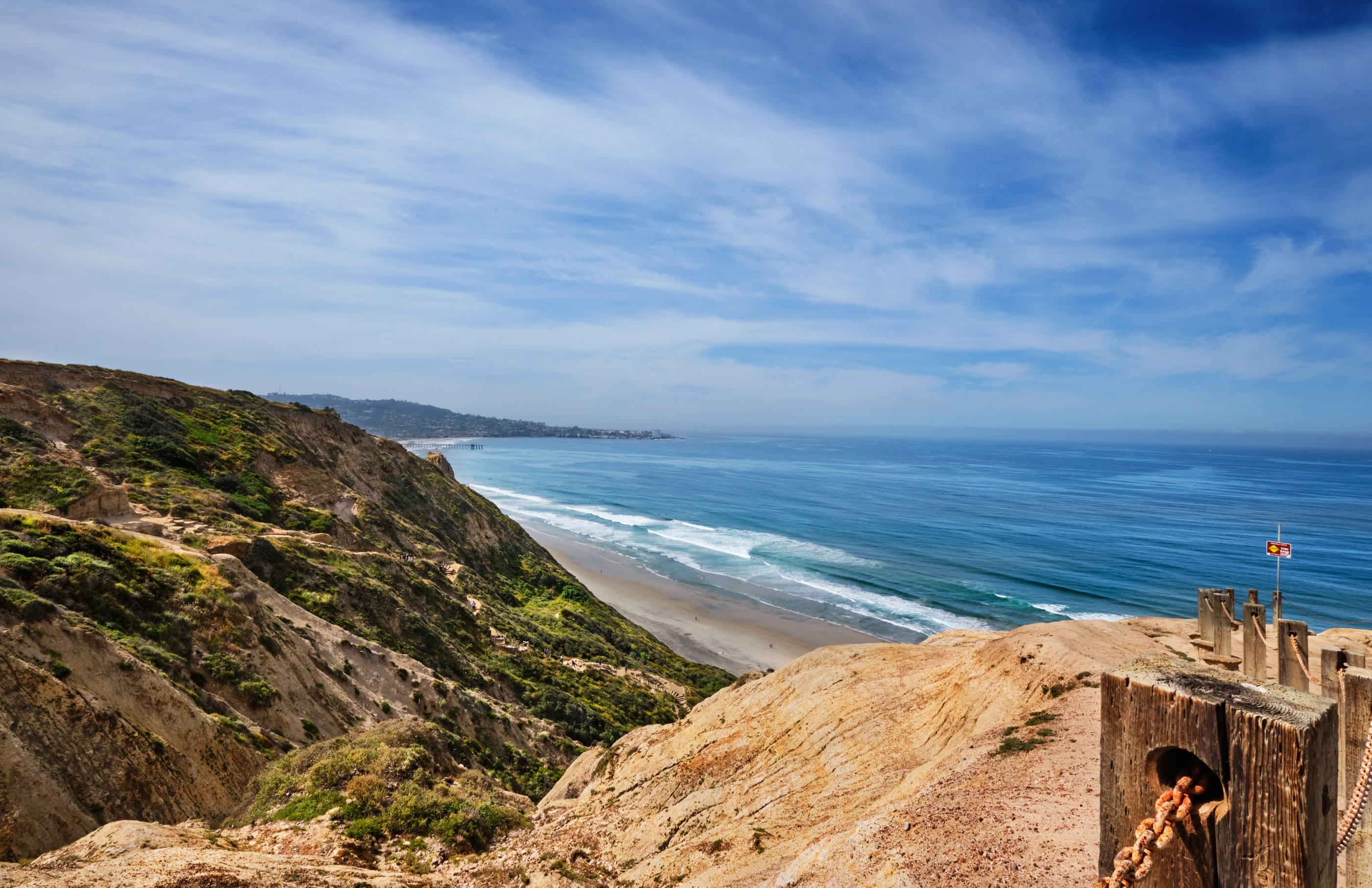 View from the cliffs down to Black's Beach in La Jolla.